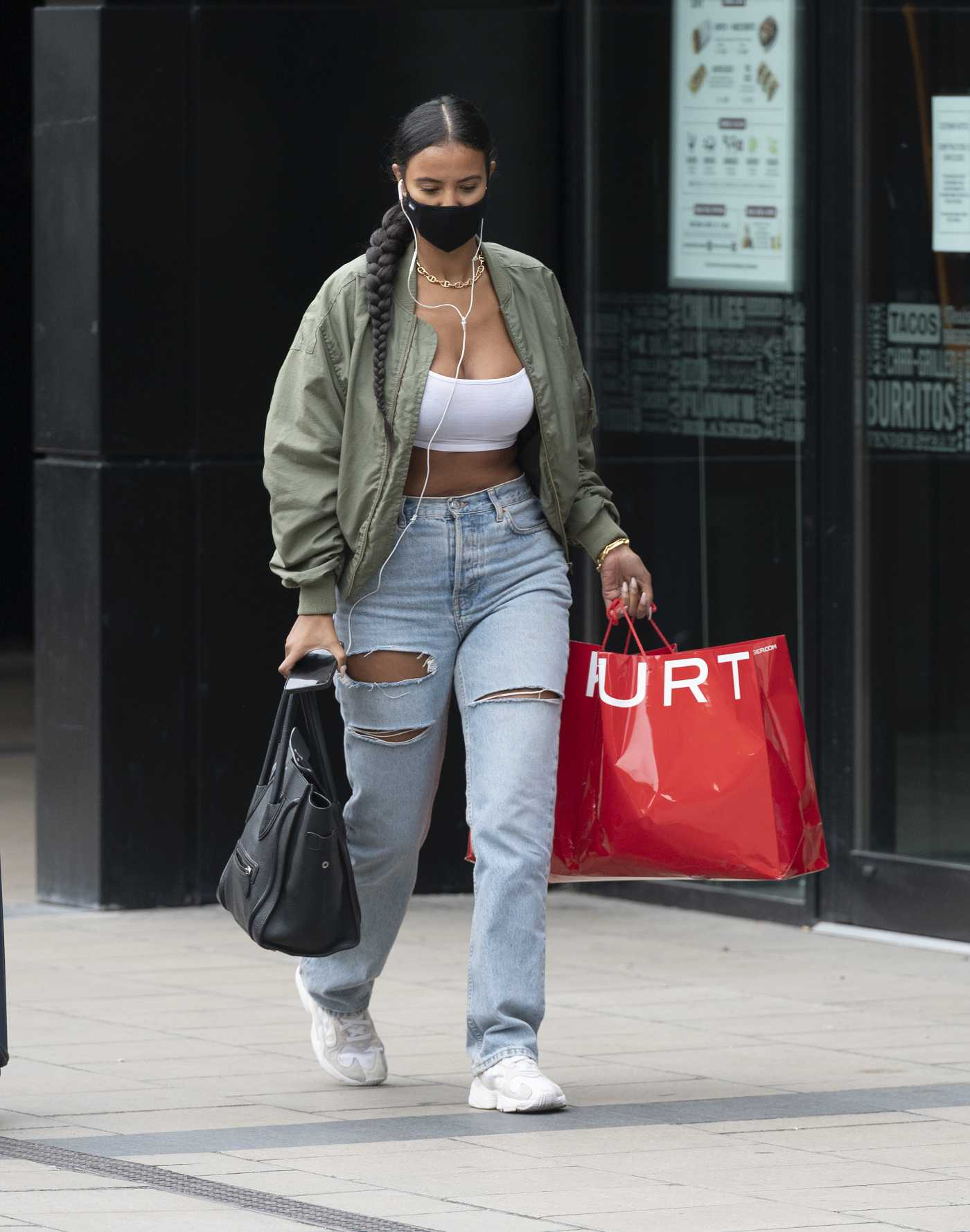Maya Jama in a Blue Ripped Jeans Was Seen Out in London 09/07/2020