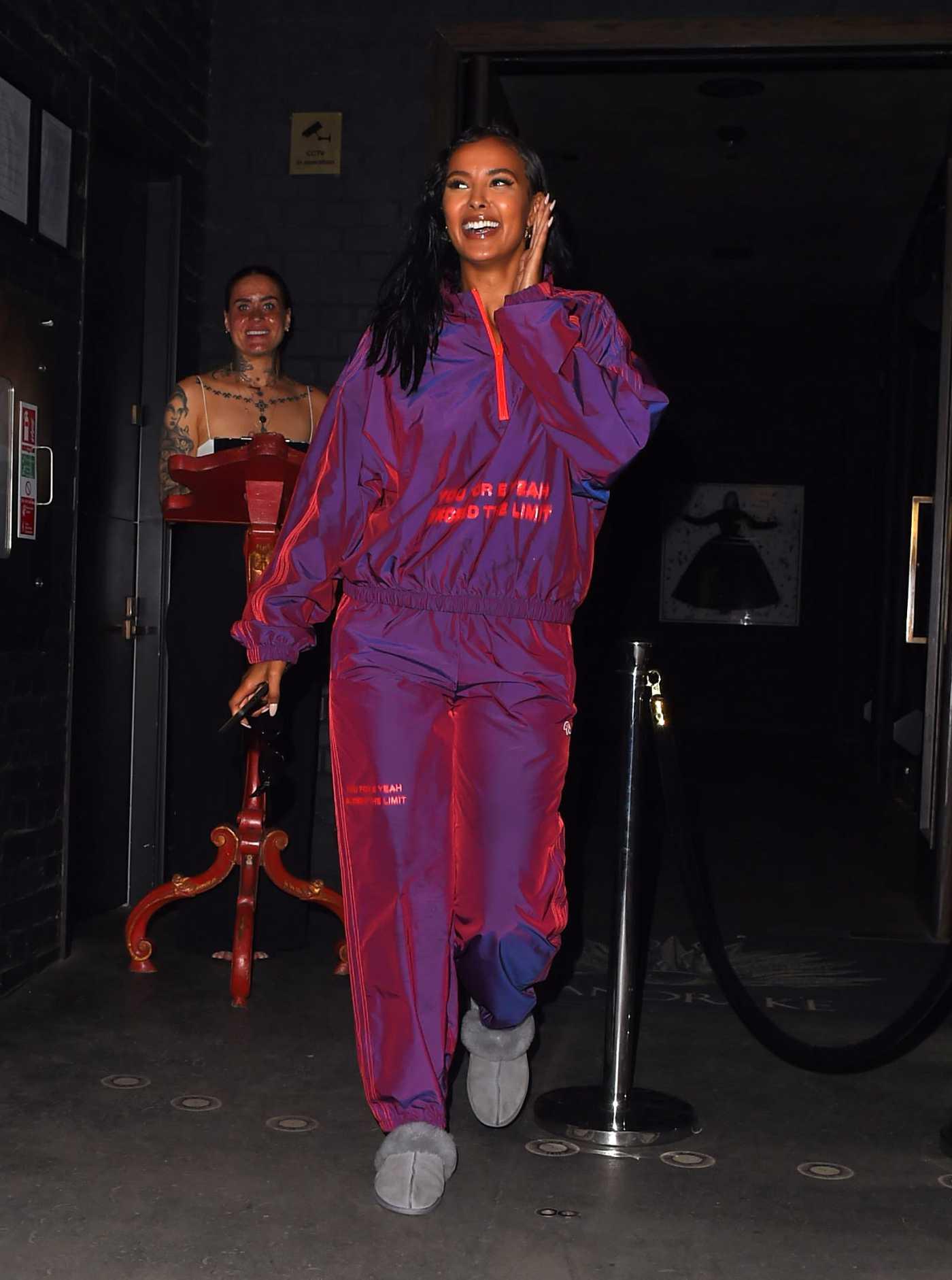 Maya Jama in a Purple Neon Metallic Tracksuit Was Seen Out in London 09/01/2020