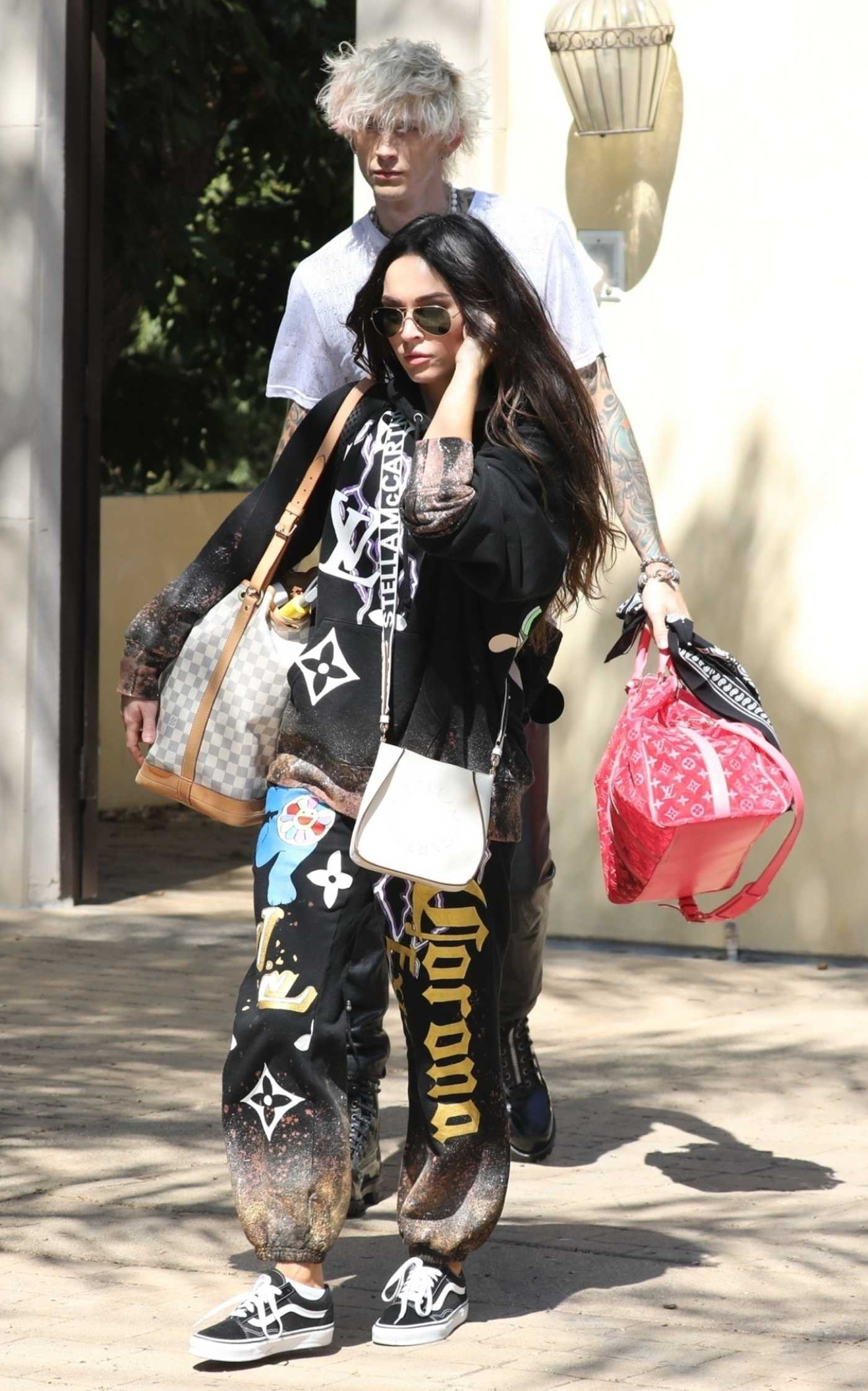 Megan Fox in a Black Sweatshirt Leaves Her House Out with Machine Gun Kelly in Los Angeles 09/25/2020