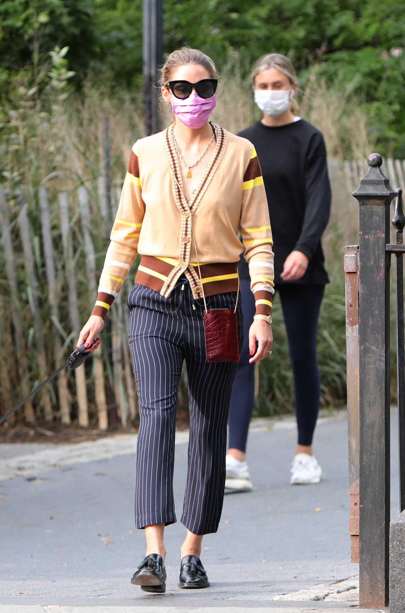 Olivia Palermo in a Pink Protective Mask Walks Her Dog at the Park in Dumbo, Manhattan 09/14/2020