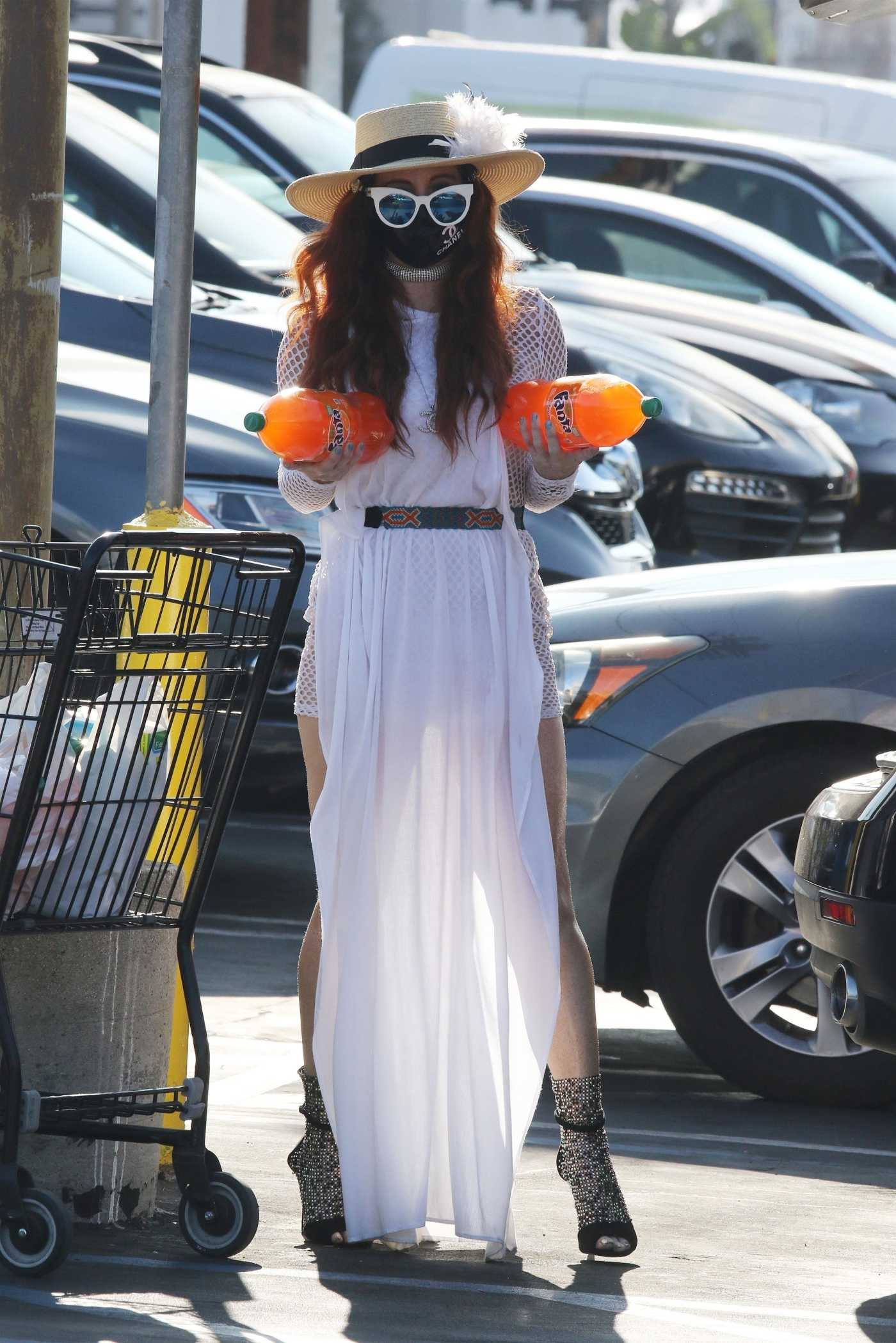 Phoebe Price in a White See-Through Mini Dress Goes Shopping in Los Angeles 09/21/2020