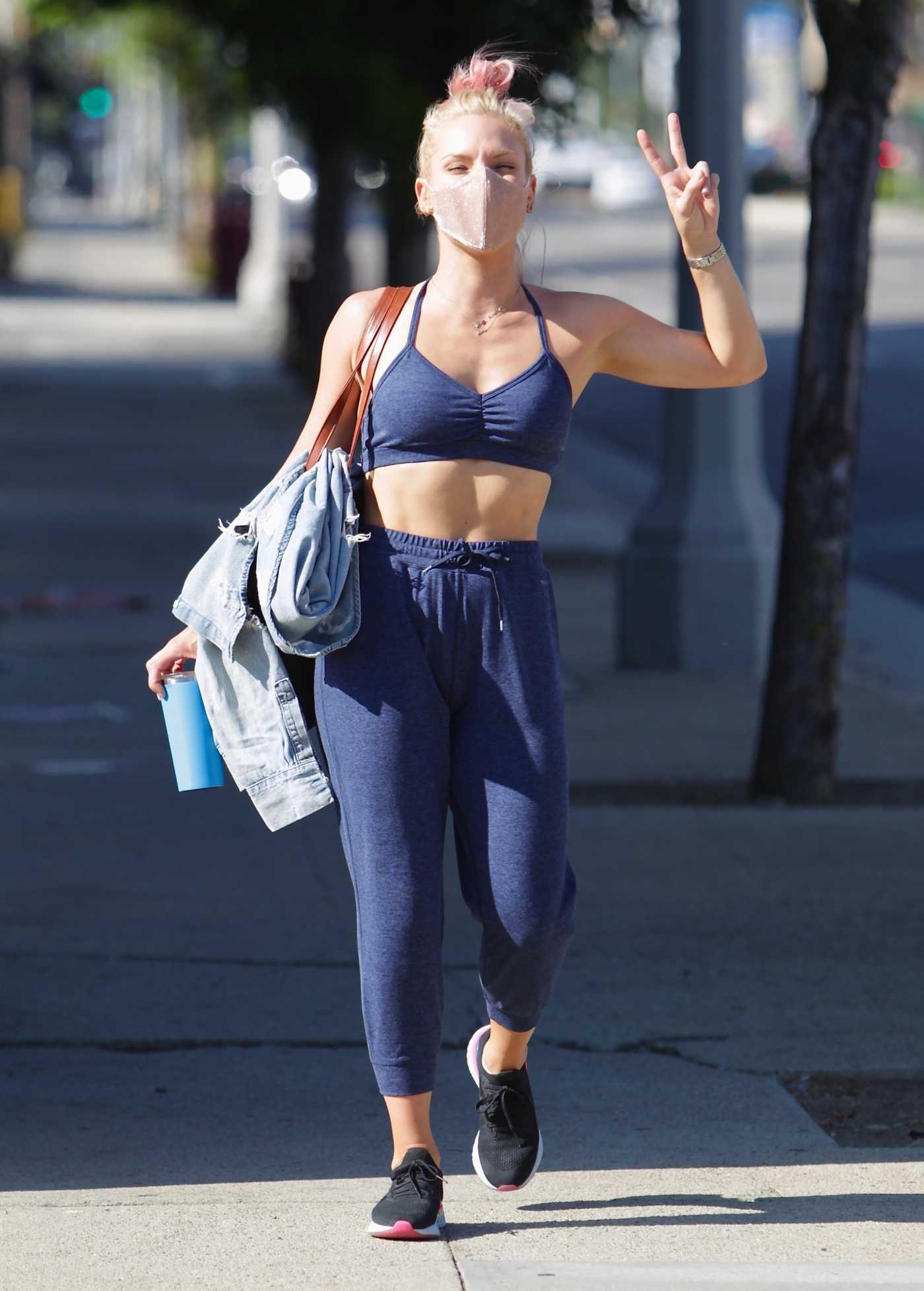 Sharna Burgess in a Blue Sports Bra Was Seen Out in Los Angeles 09/07/2020