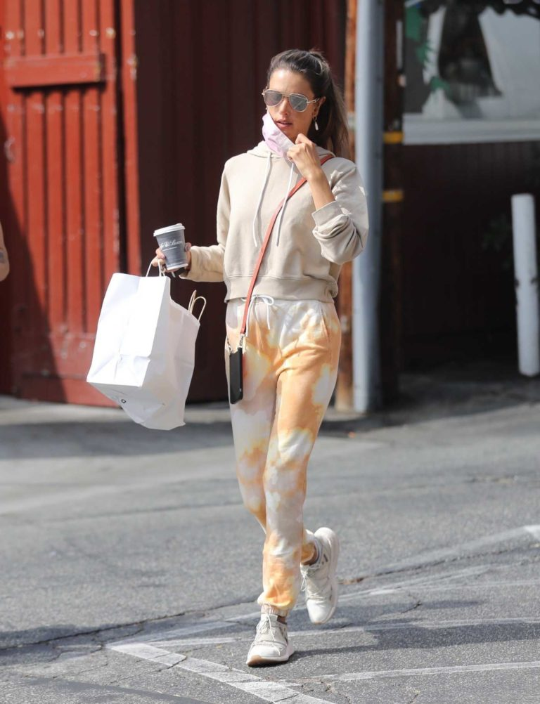Alessandra Ambrosio in a Beige Hoodie