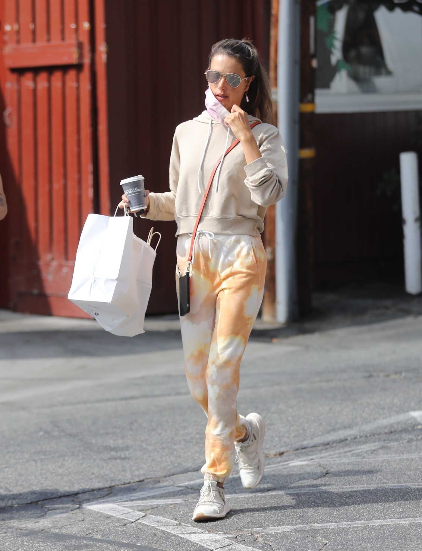 Alessandra Ambrosio in a Beige Hoodie Leaves the Country Mart in Brentwood 10/21/2020