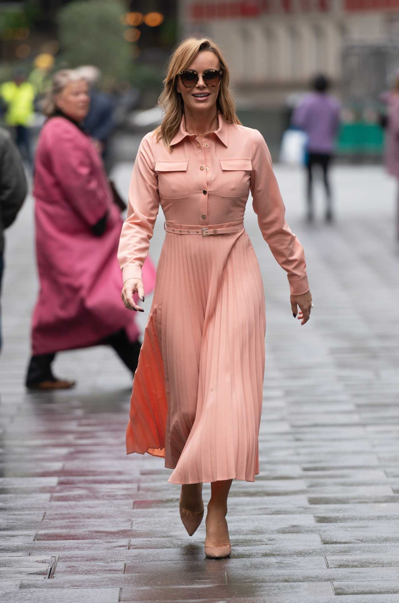 Amanda Holden in a Pink Dress Was Seen Out in London 10/06/2020