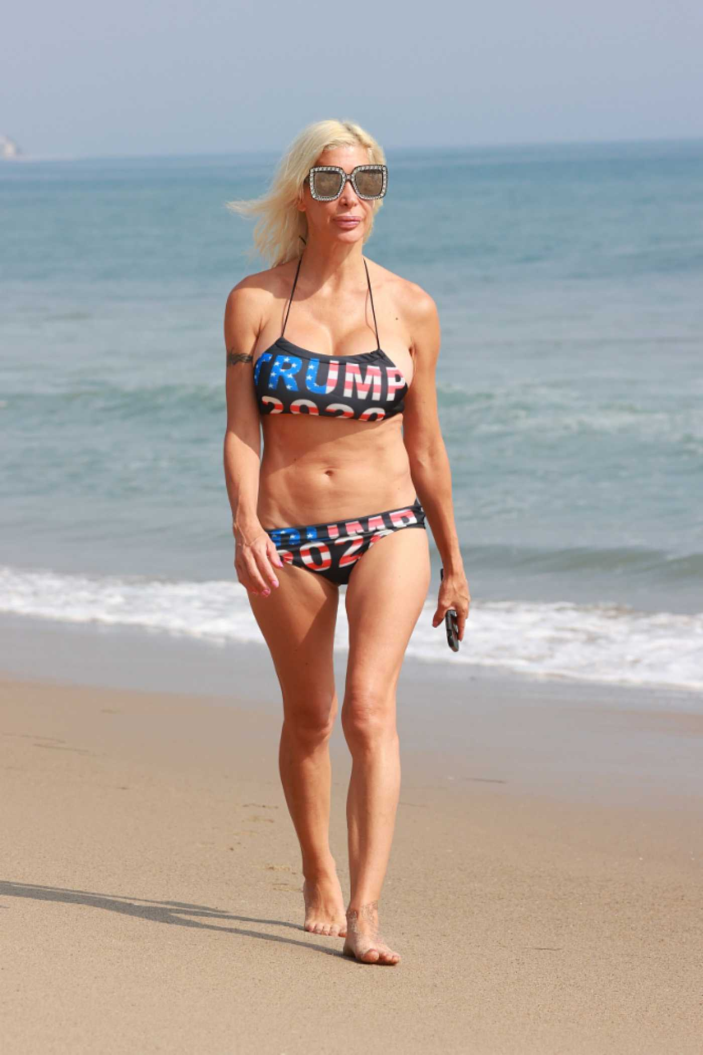 Angelique Morgan in a Trump 2020 Bikini on the Beach in Malibu 10/05/2020