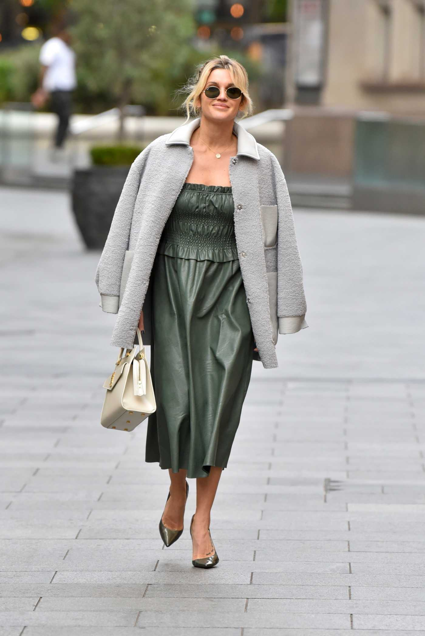 Ashley Roberts in a Green Dress Leaves the Global Studios in London 10/28/2020