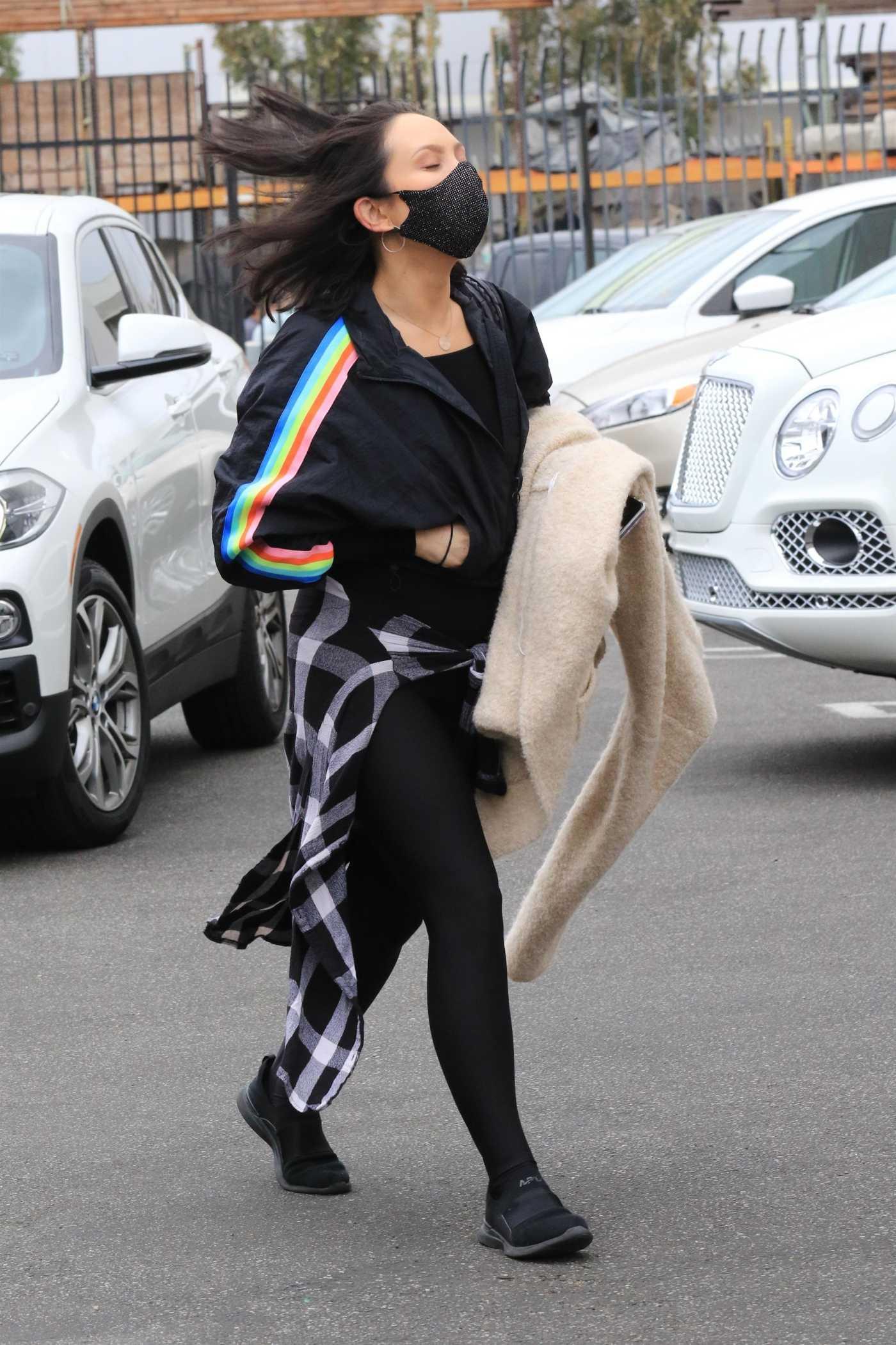 Cheryl Burke in a Black Leggings Arrives at the DWTS Studio in Los Angeles 10/23/2020