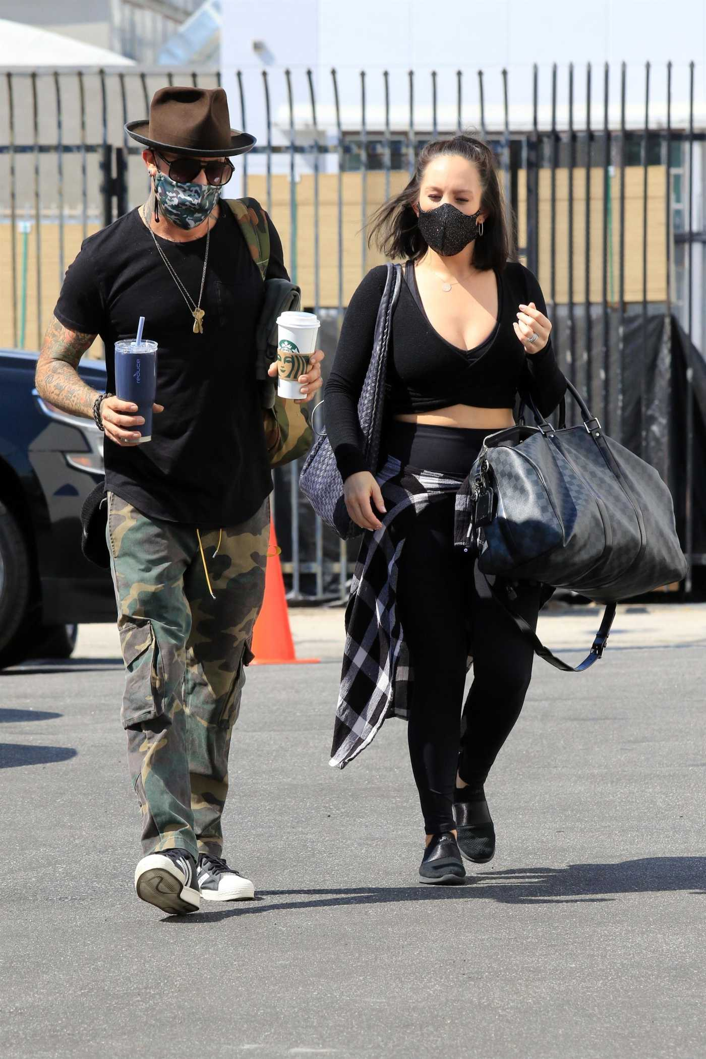 Cheryl Burke in a Black Outfit Out with AJ McLean Arrives at the DWTS Studio in Los Angeles 10/03/2020
