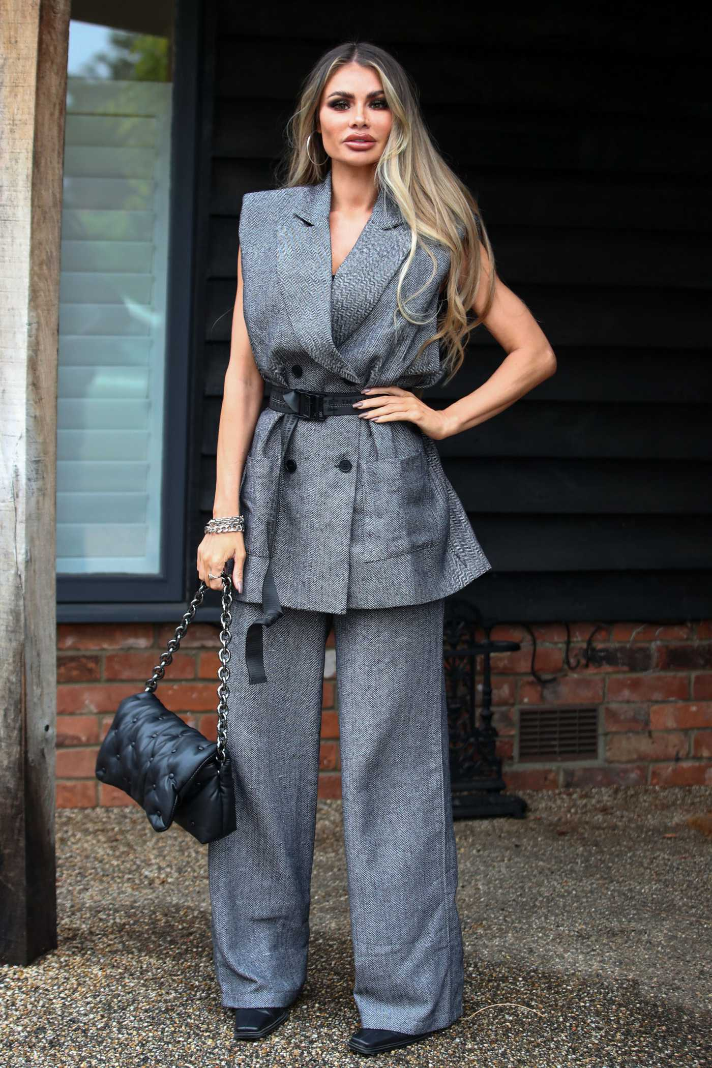 Chloe Sims in a Grey Suit on the Set of The Only Way is Essex TV Show in London 10/04/2020