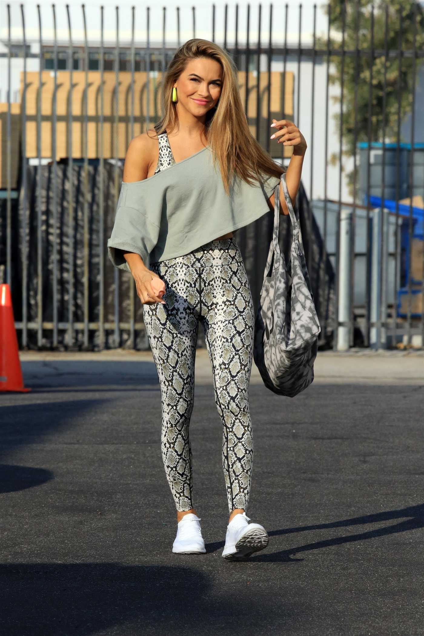 Chrishell Stause in a Snakeskin Print Leggings Arrives at the DWTS Studio in Los Angeles 10/07/2020