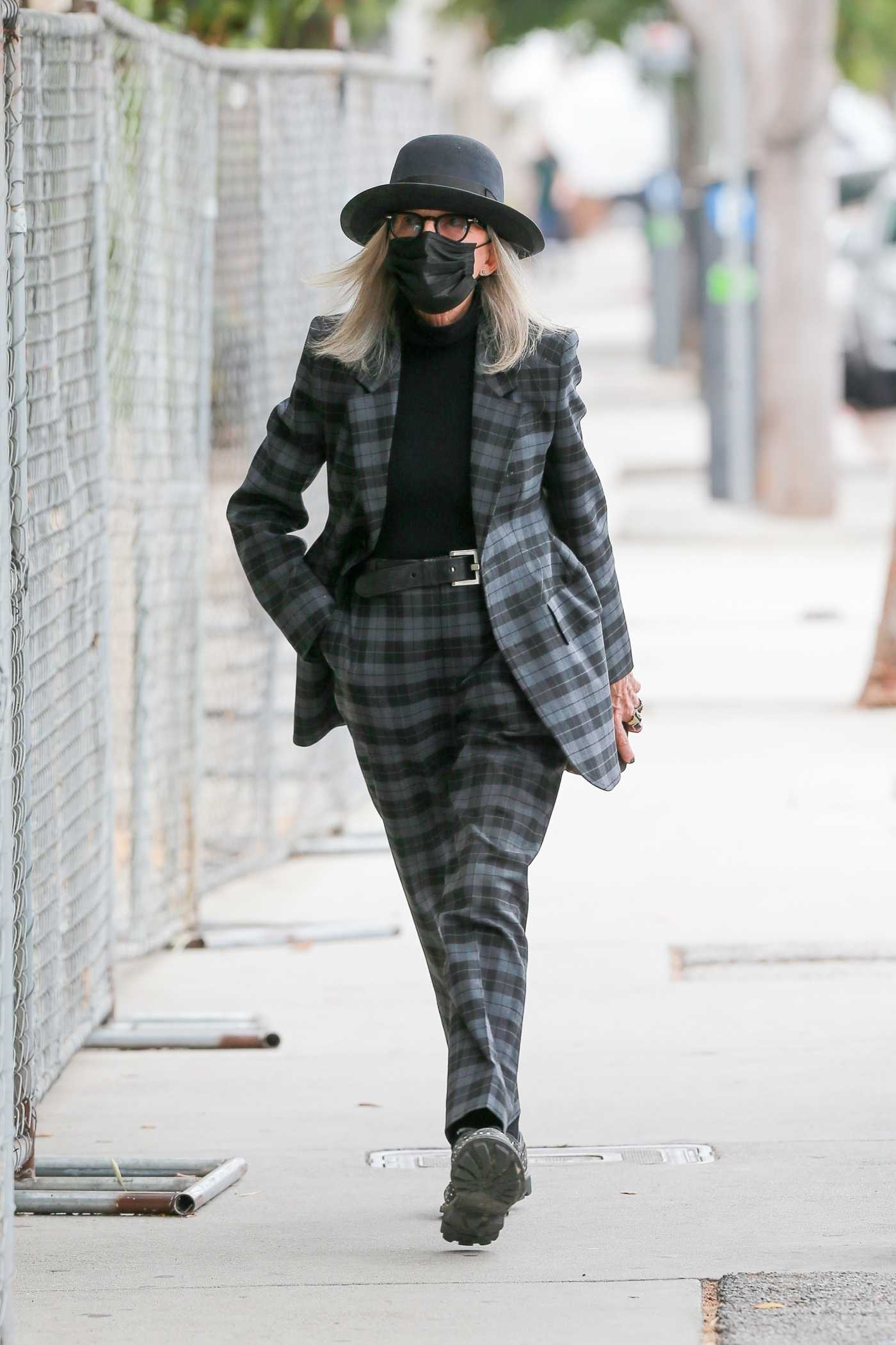 Diane Keaton in a Plaid Suit Goes to Lunch at Westfield Mall in Los Angeles 10/23/2020