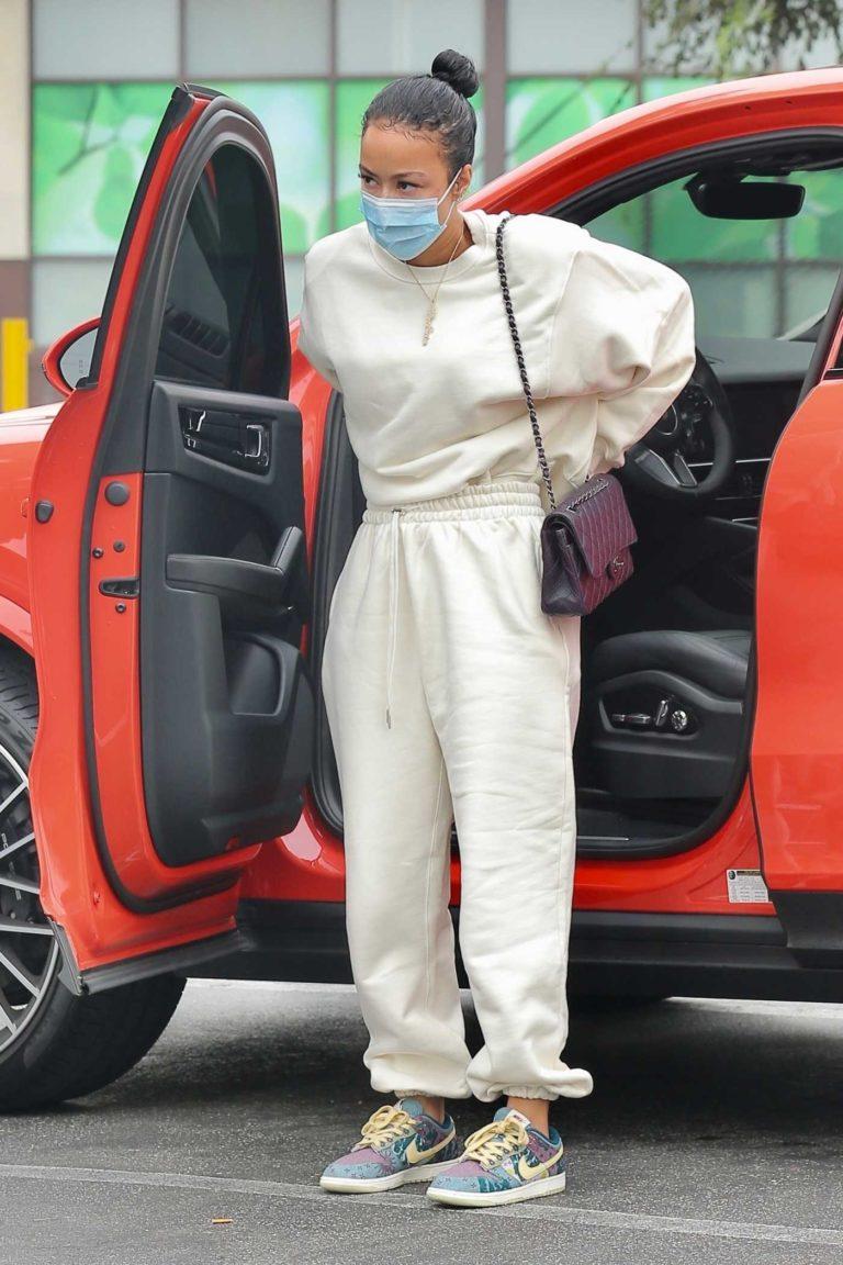 Draya Michele in a Beige Sweatsuit