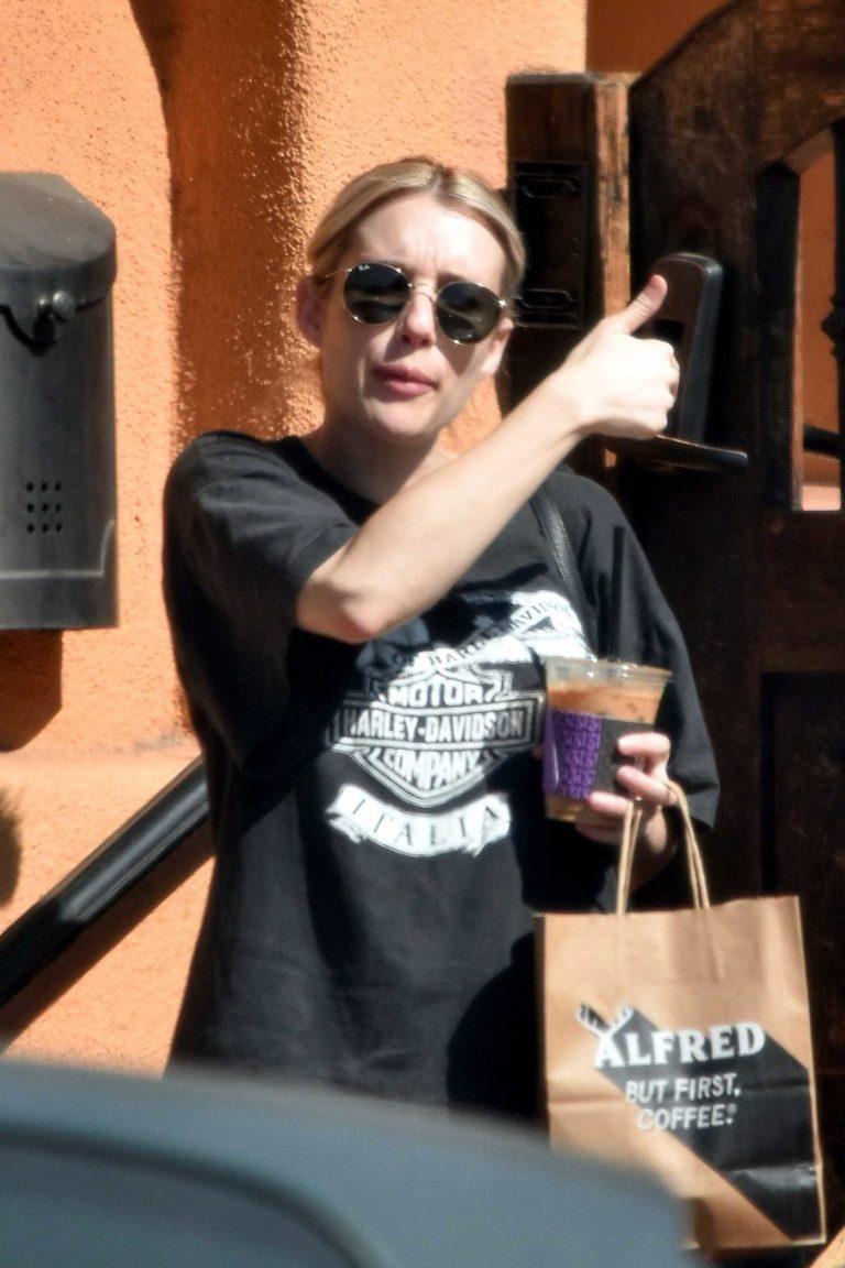 Emma Roberts in a Black Harley-Davidson T-Shirt