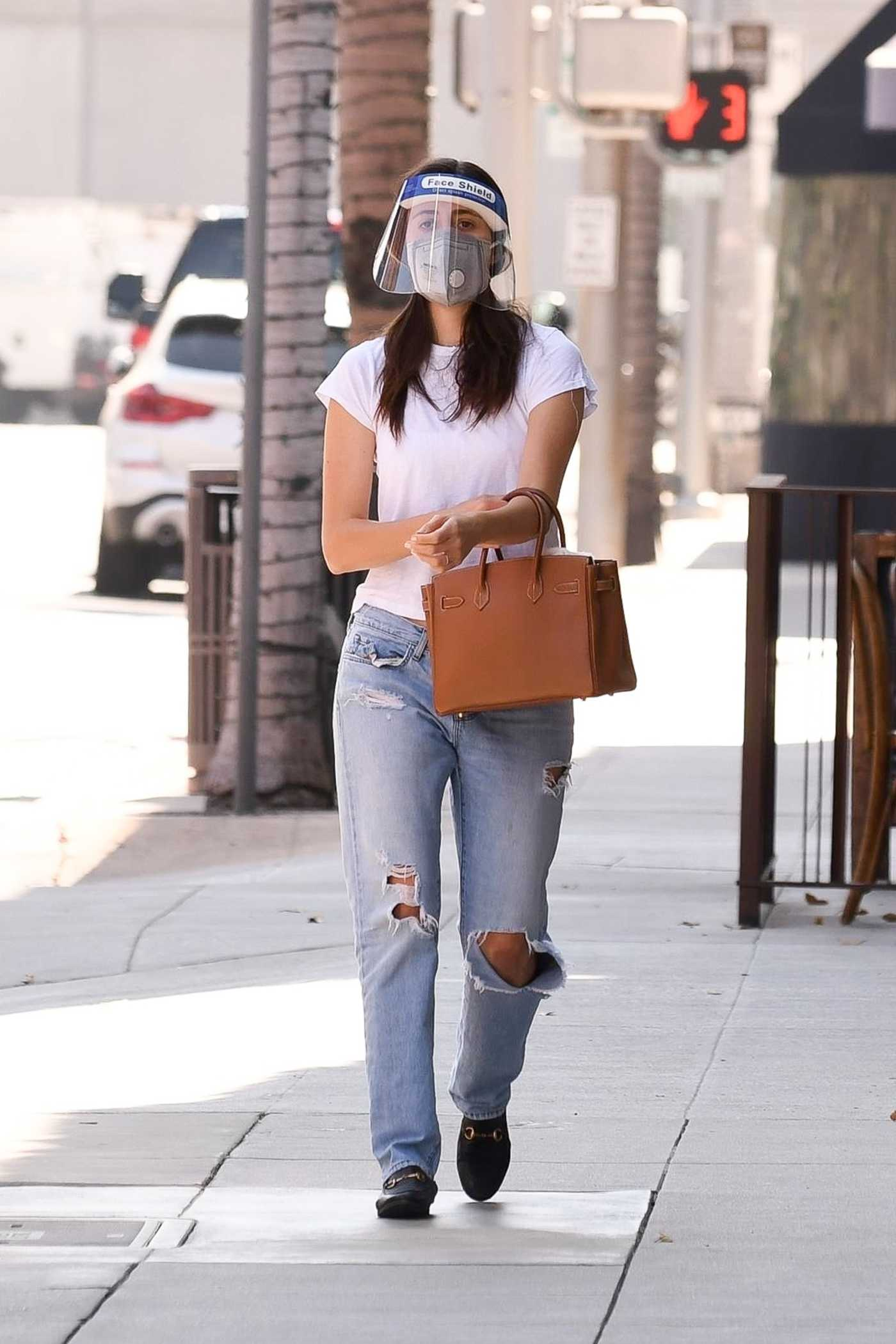 Emmy Rossum in a Blue Ripped Jeans Heads to a Doctors Appointment in Beverly Hills 10/02/2020