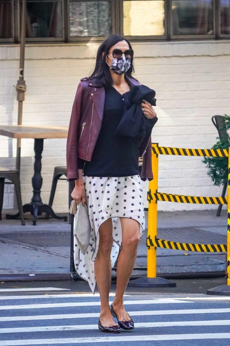 Famke Janssen in a Camo Protective Mask