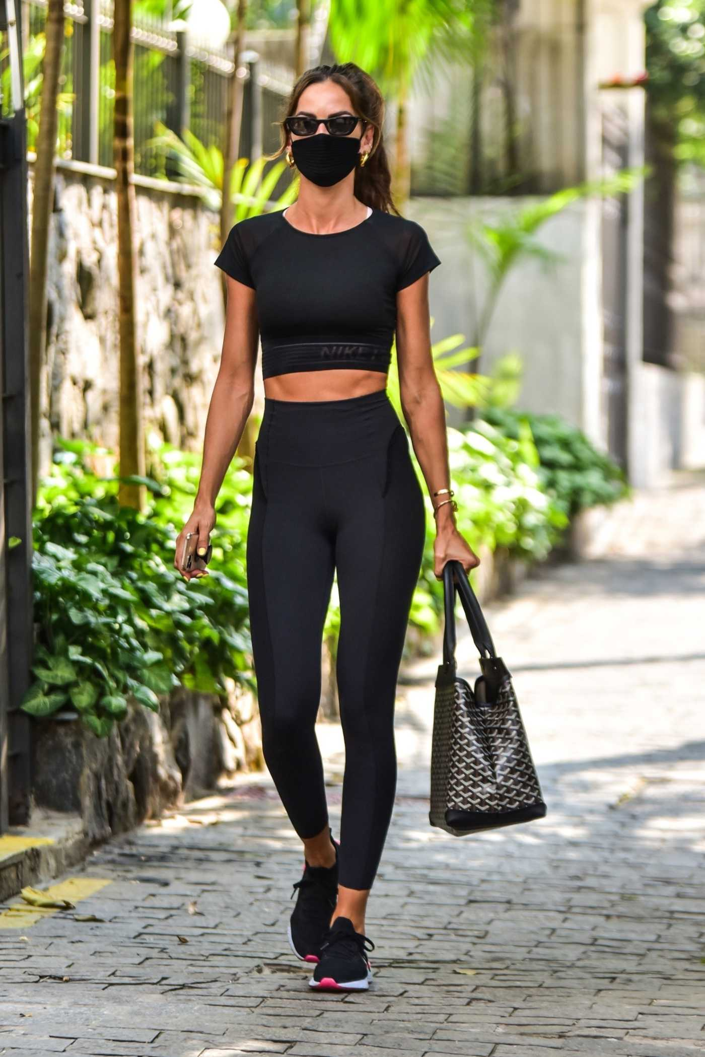 Izabel Goulart in a Black Leggings Was Seen Out in Sao Paulo 10/14/2020