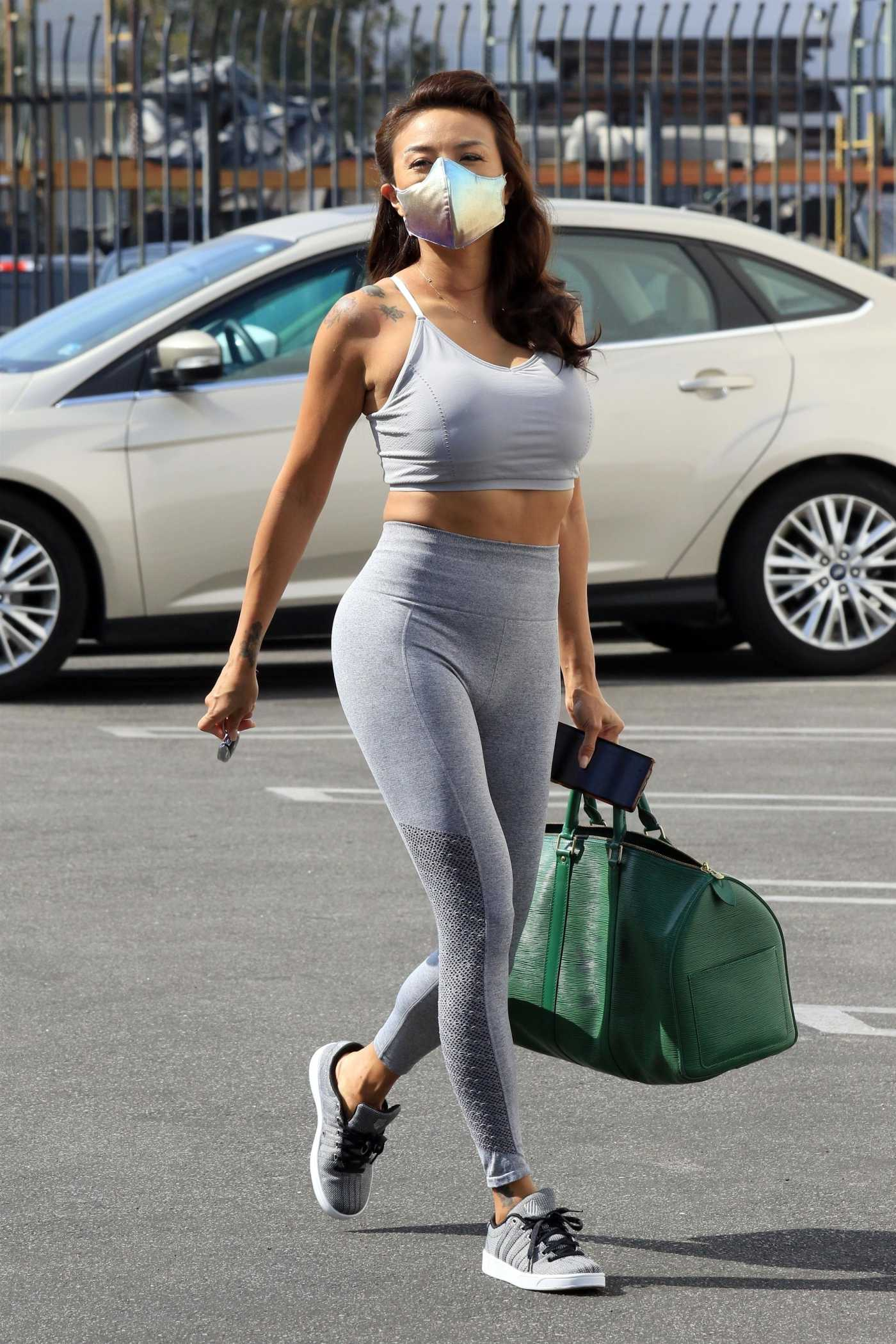 Jeannie Mai in a Grey Workout Clothes Arrives at the DWTS Studio in Los Angeles 10/20/2020