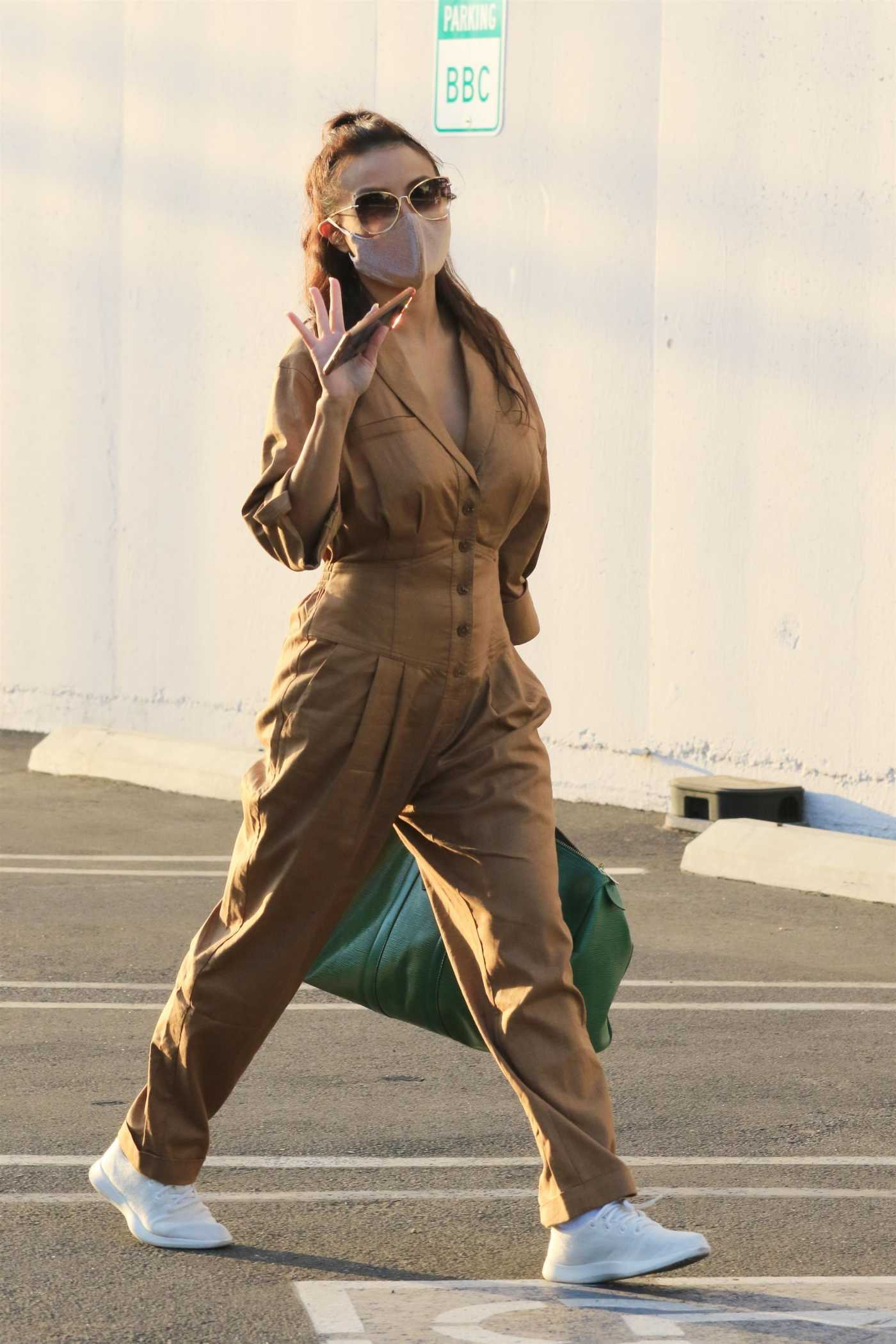 Jeannie Mai in a Tan Jumpsuit Heads to the DWTS Studio in Los Angeles 10/06/2020