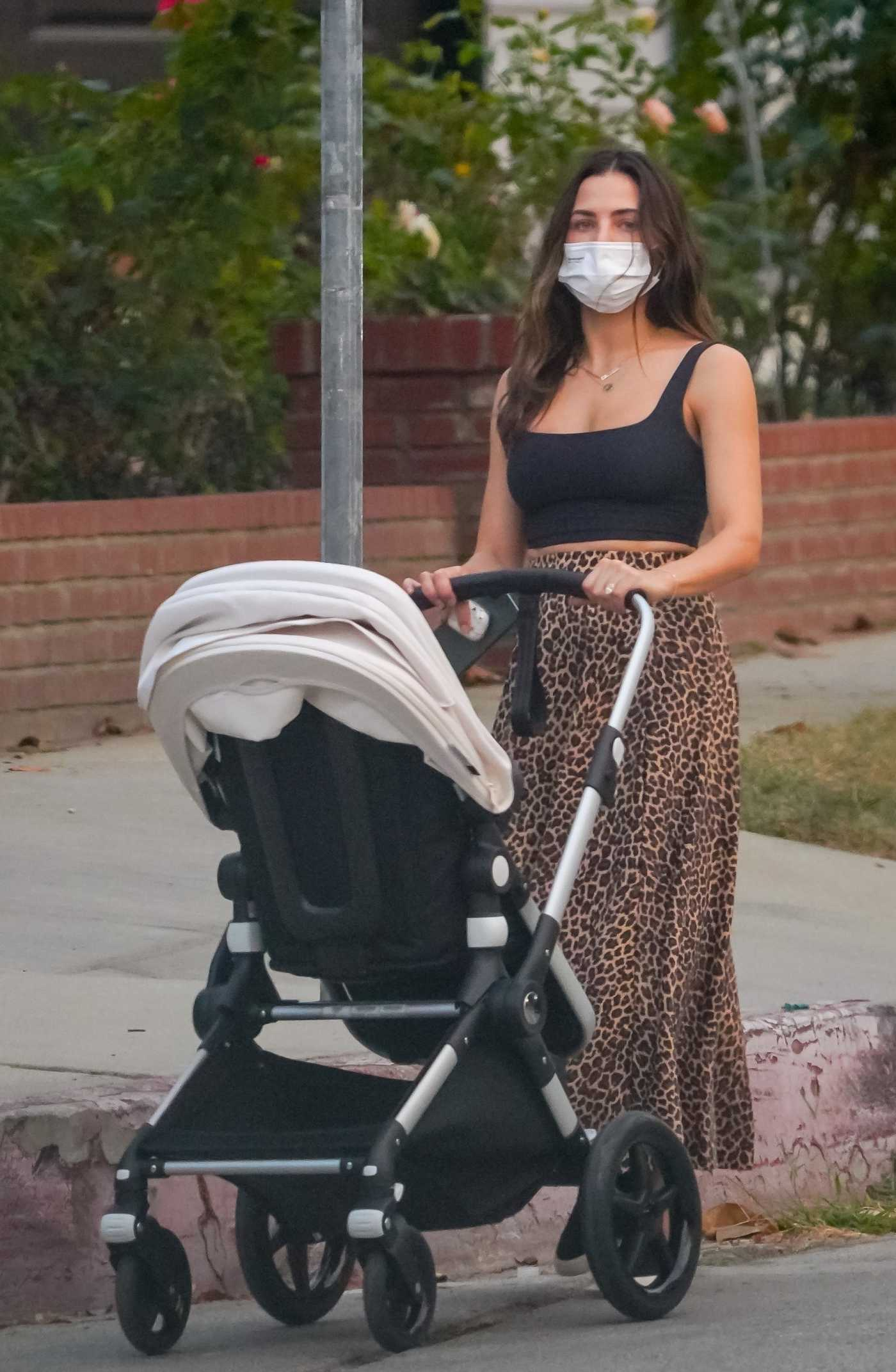 Jenna Dewan in a Black Top Takes Her Baby for a Walk in Los Angeles 10/15/2020