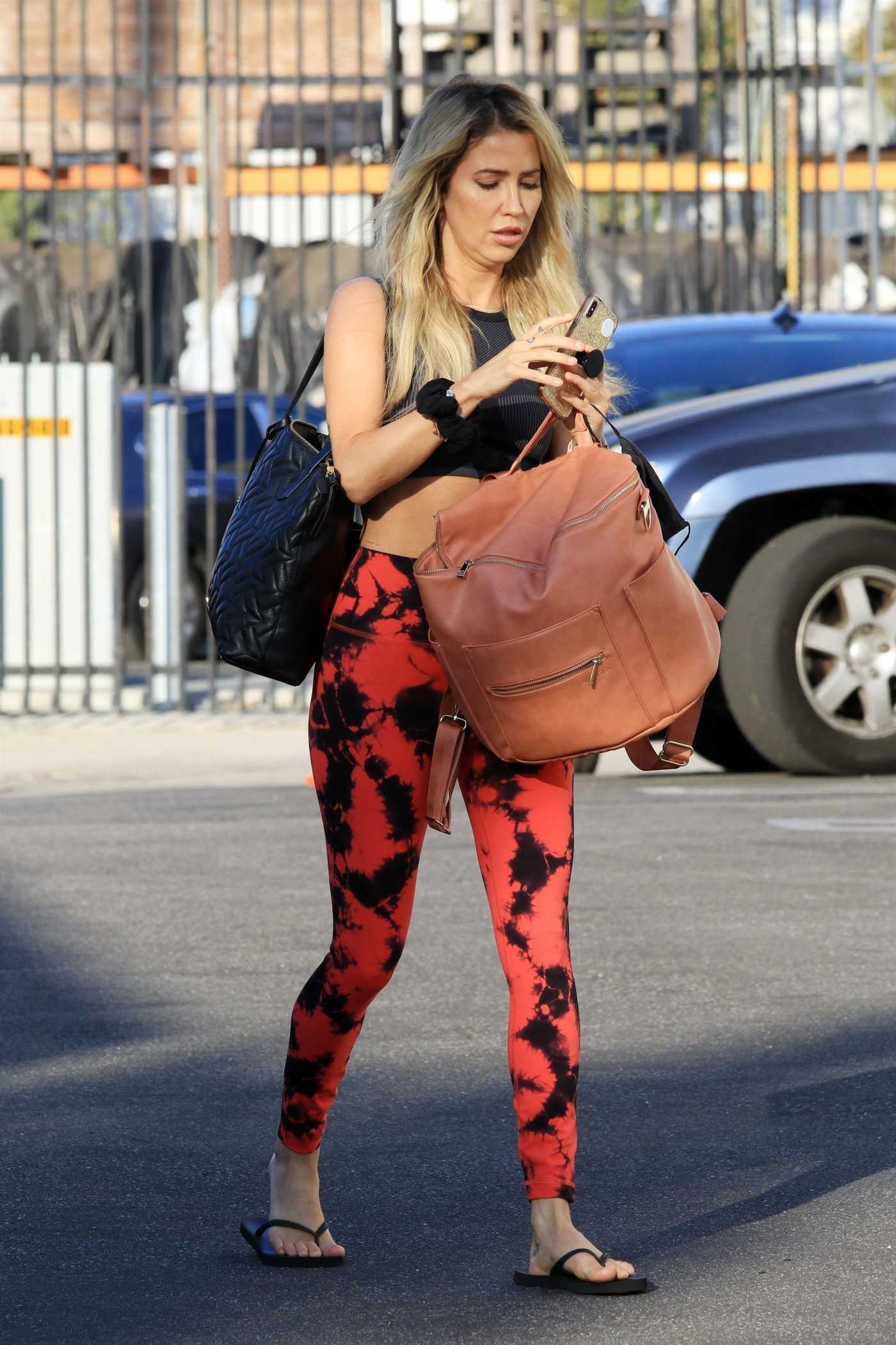Kaitlyn Bristowe in a Red  Leggings Heads to the DWTS Studio in Los Angeles 10/15/2020