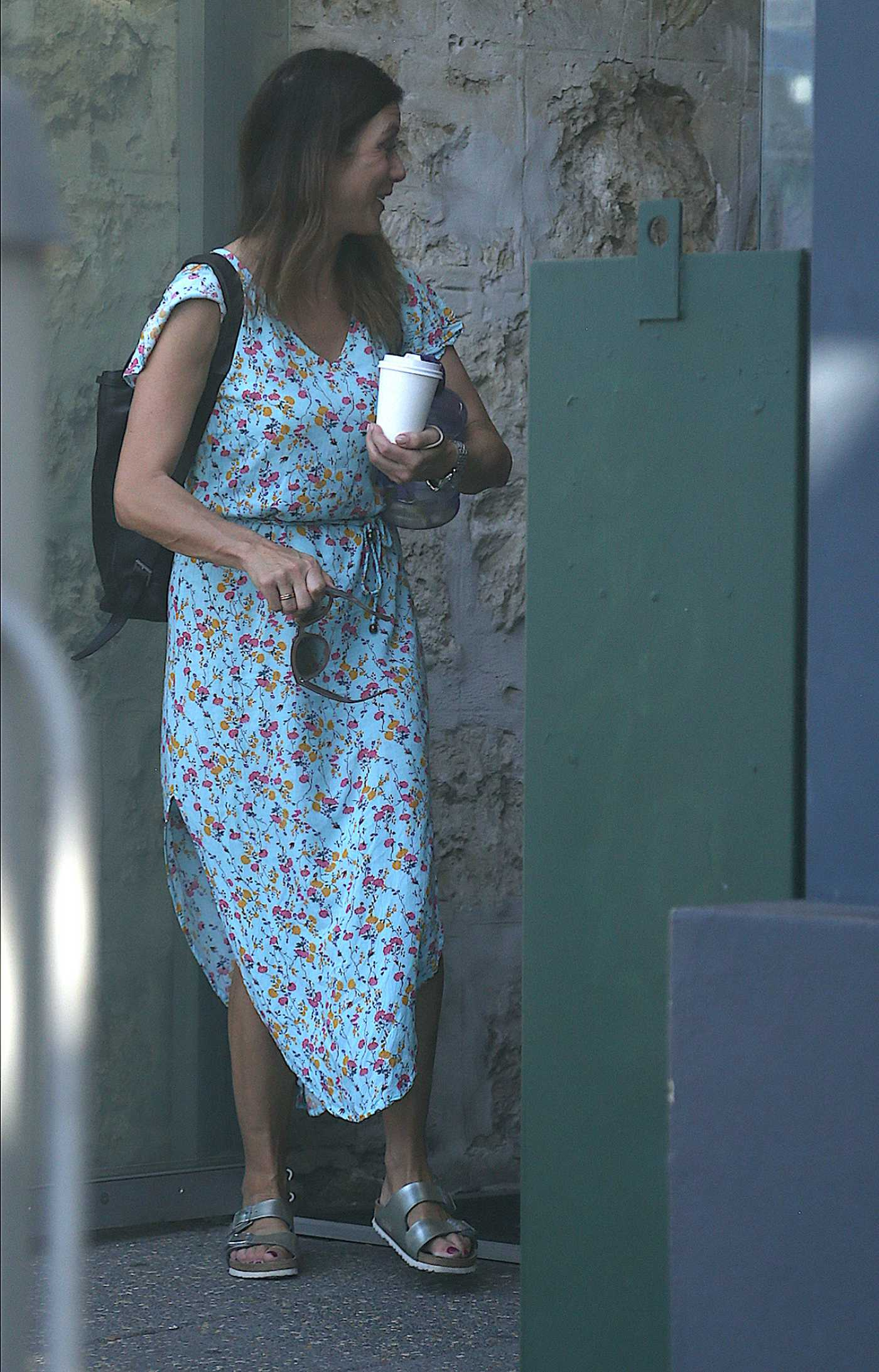 Kate Walsh in a Blue Floral Dress Leaves Victoria Hall in Fremantle 10/25/2020
