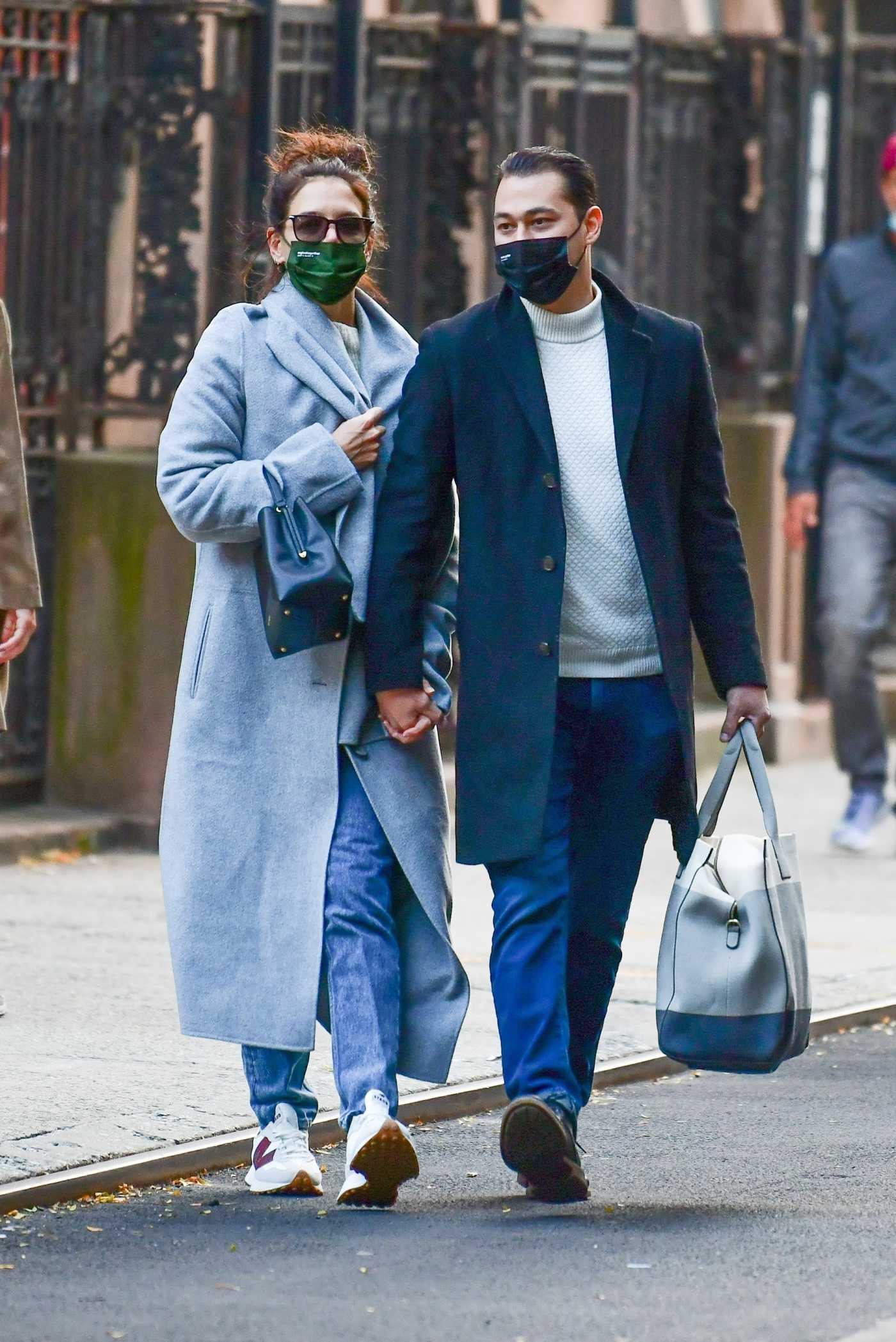 Katie Holmes in a Light Blue Coat Was Seen Out with Emilio Vitolo Jr. in Soho, New York 10/05/2020