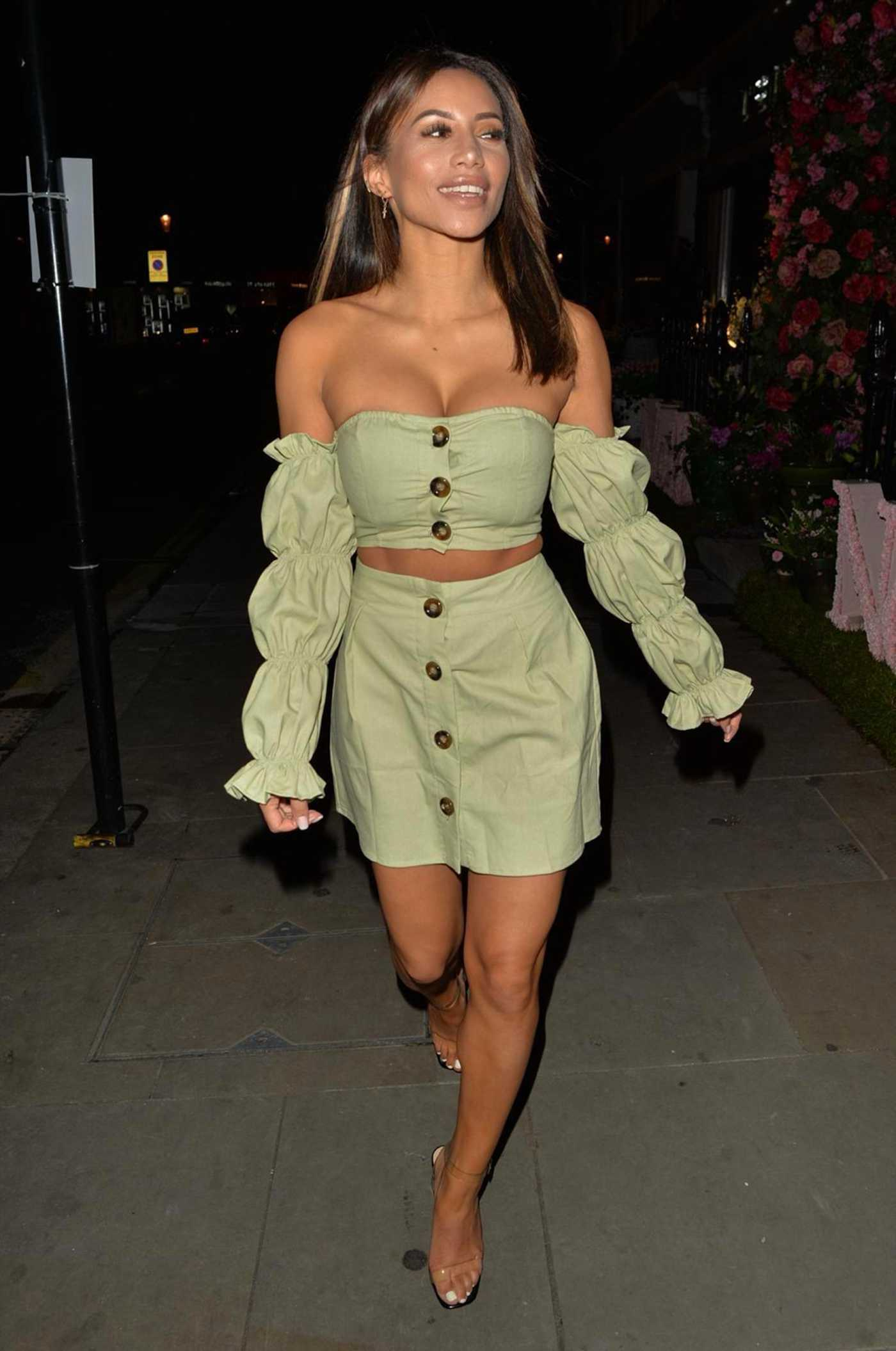 Kayleigh Morris in a Light Green Ensemble Leaves the Ivy Restaurant in Chelsea 10/21/2020