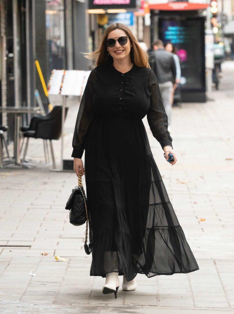 Kelly Brook in a Black Maxi Dress