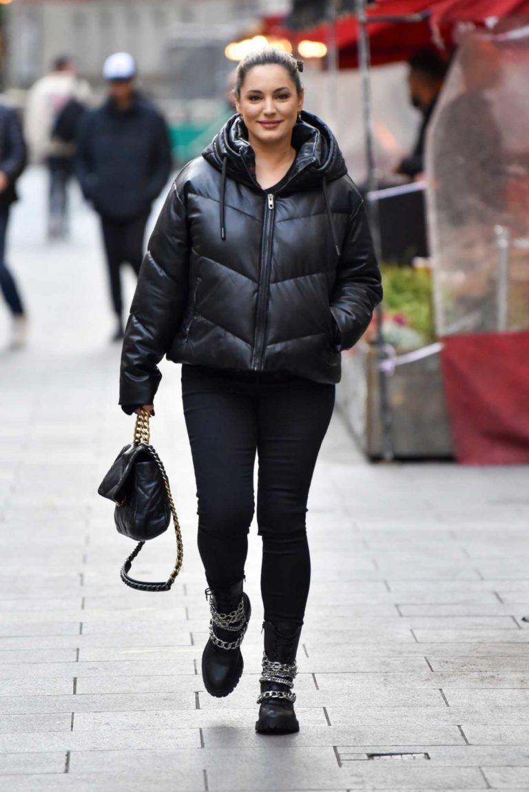 Kelly Brook in a Black Puffer Jacket