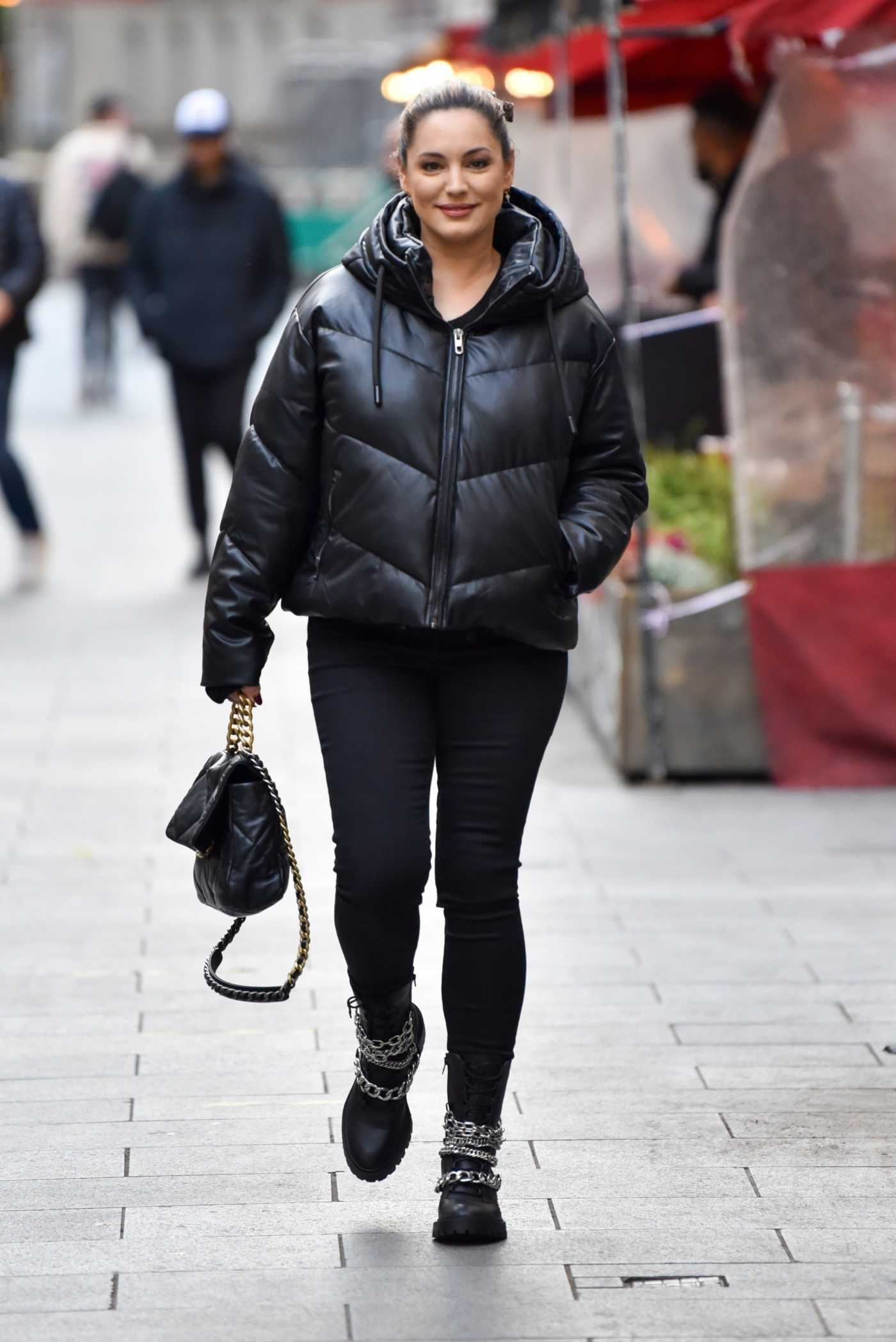 Kelly Brook in a Black Puffer Jacket Arrives at the Global Studios in London 10/20/2020