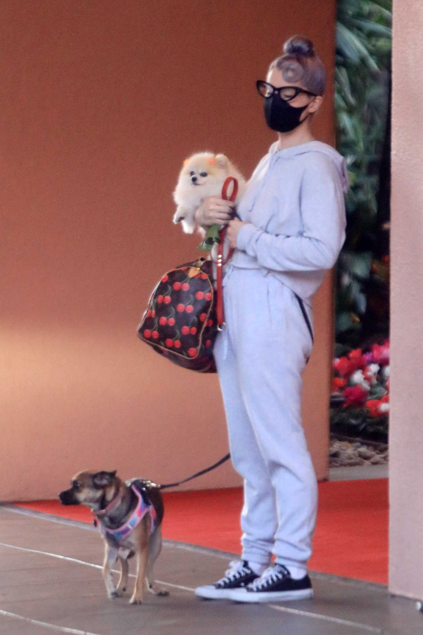 Kelly Osbourne in a Grey Sweatsuit Takes Her Dogs to the Hotel in Beverly Hills 10/26/2020