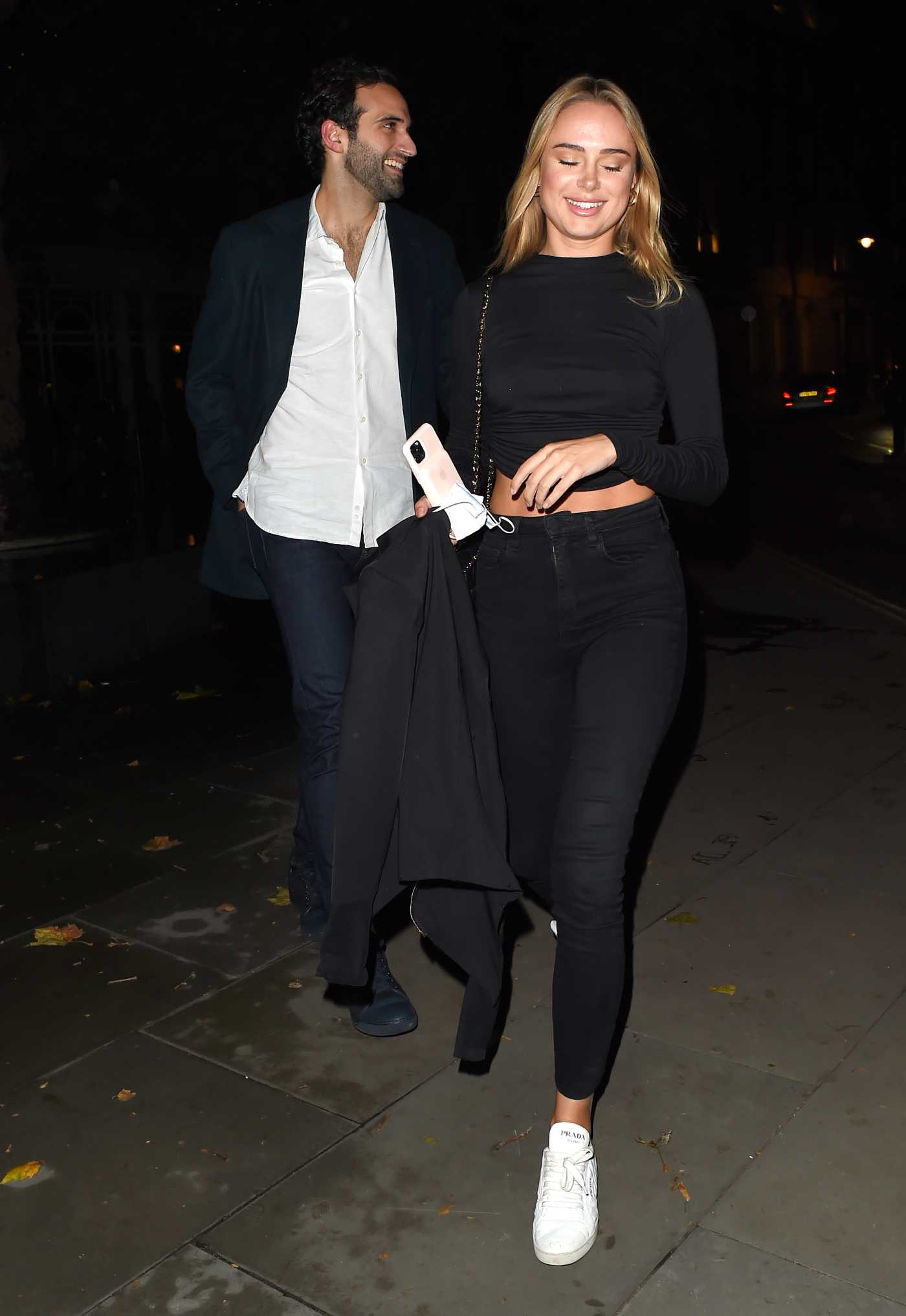 Kimberley Garner in a White Sneakers Leaves the Connaught Hotel in Mayfair, London 10/08/2020