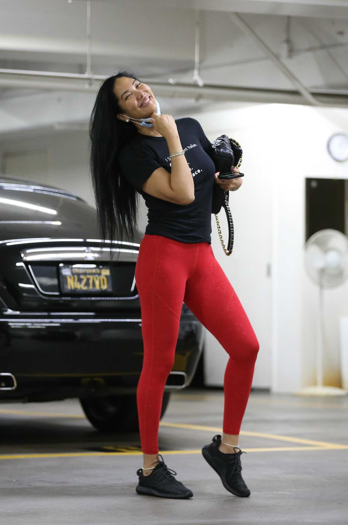 Kimora Lee Simmons in a Red Leggings Arrives at a Doctor's Office in Beverly Hills 10/23/2020