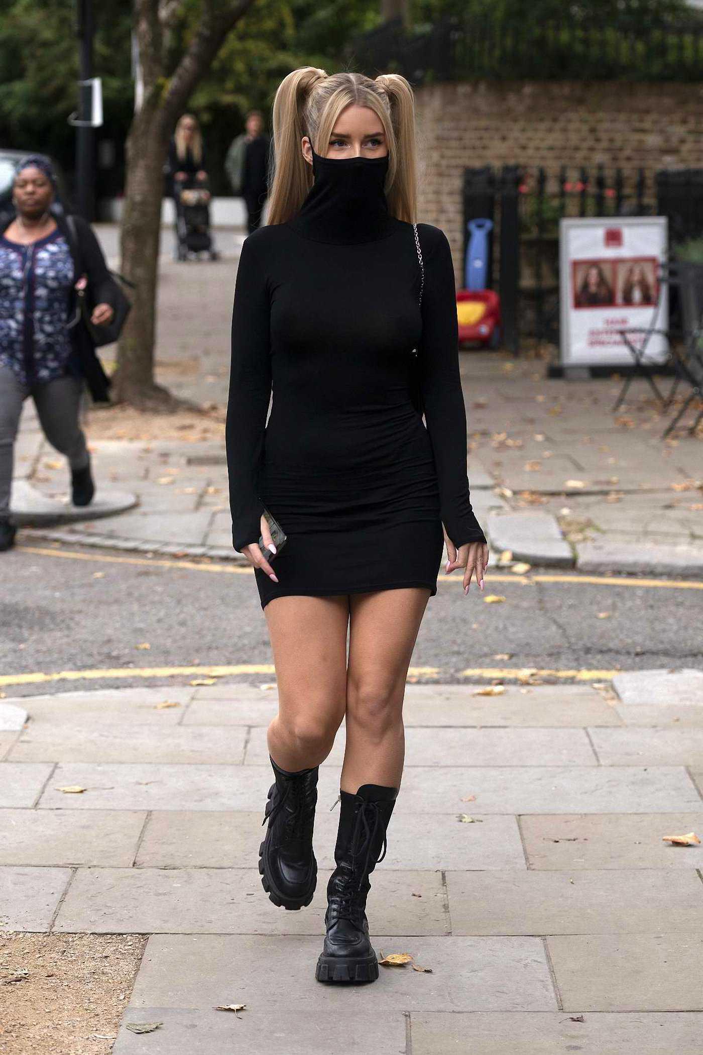 Lottie Moss in a Black Mini Dress Was Seen Out in London 10/13/2020