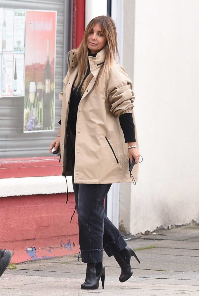 Louise Redknapp in a Beige Windbreaker