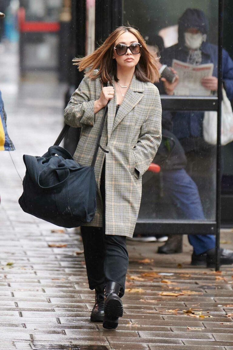 Myleene Klass in a Grey Trench Coat