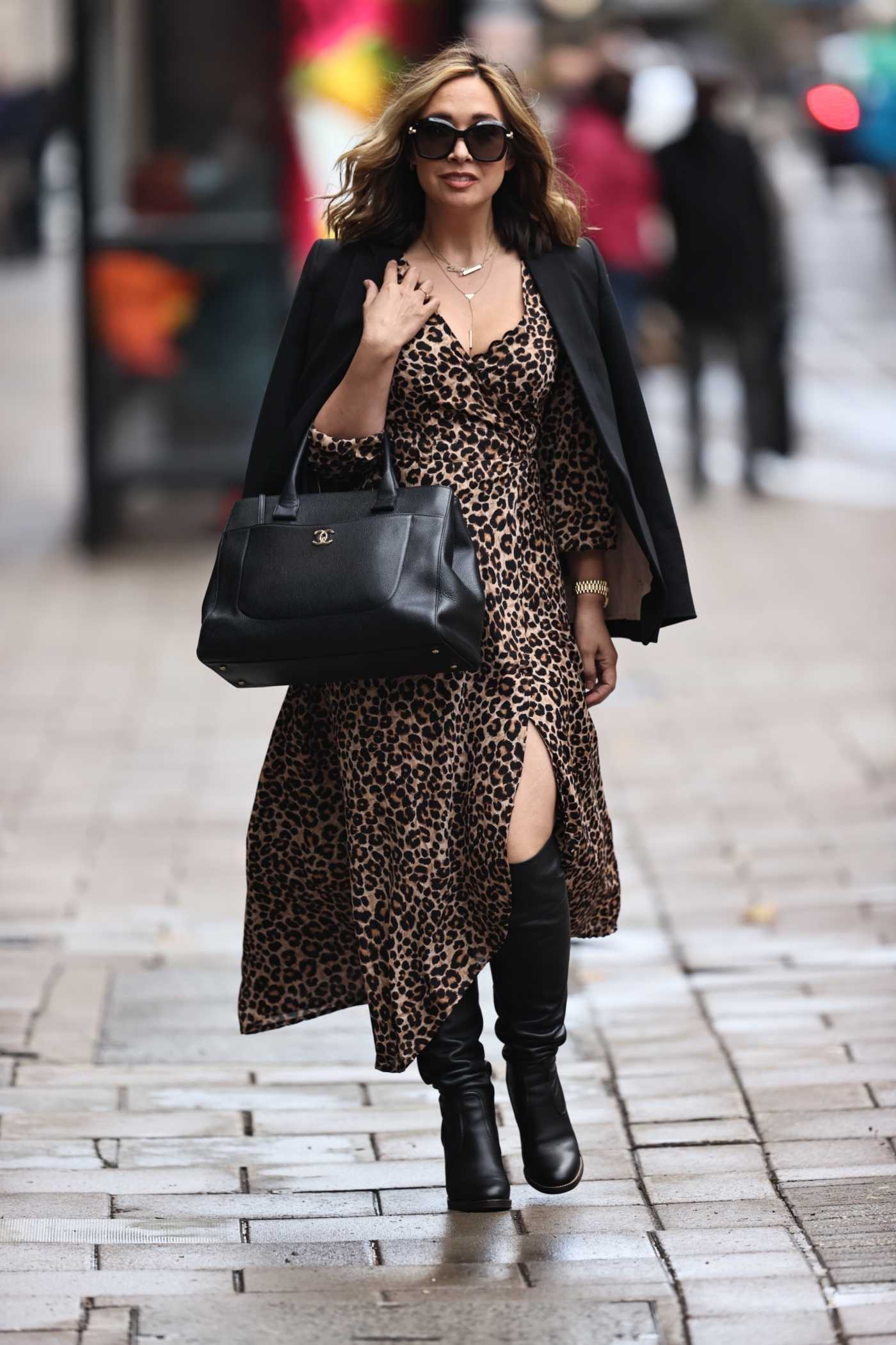 Myleene Klass in an Animal Print Dress Arrives at the Smooth Radio in London 10/06/2020