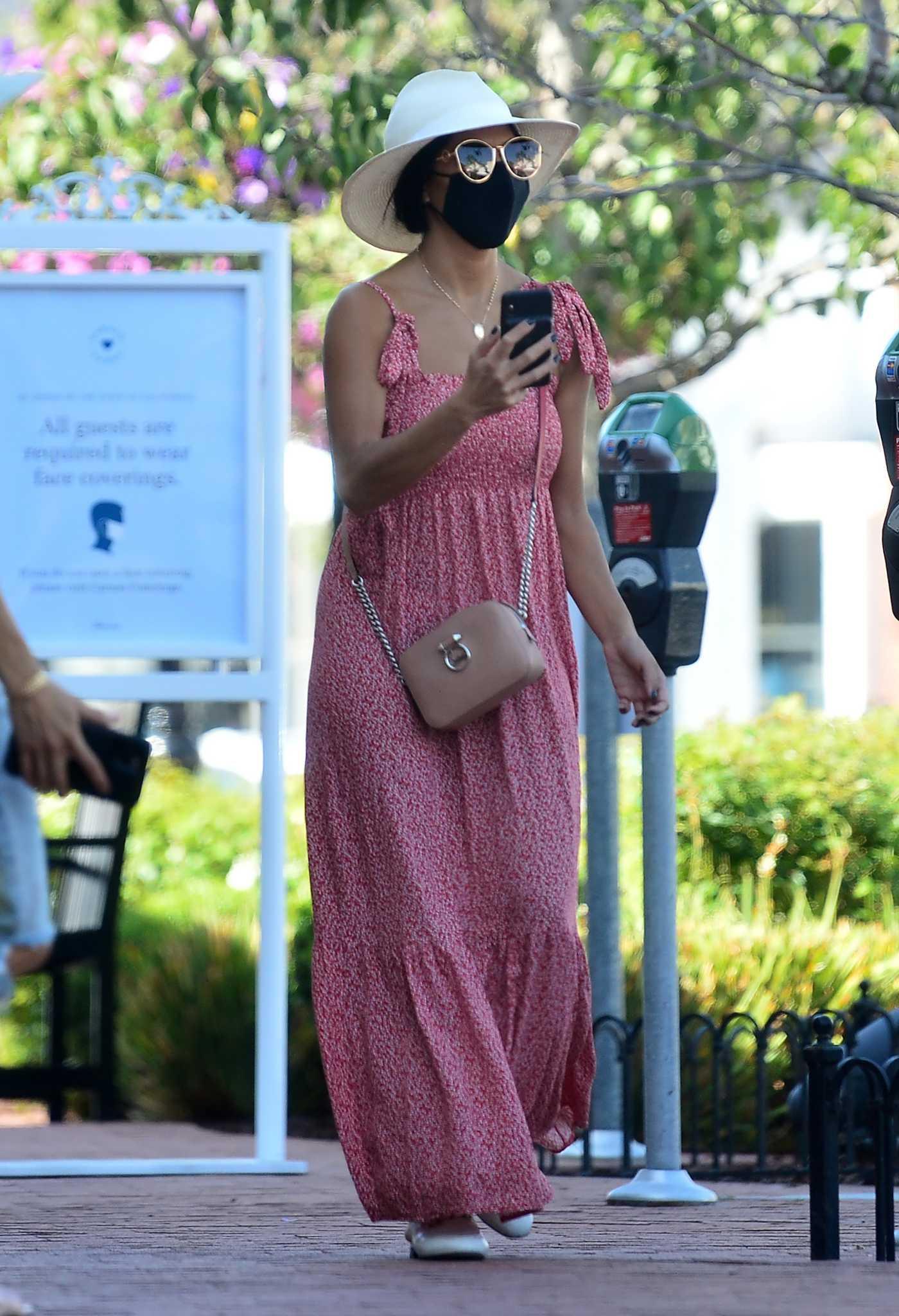 Nicole Scherzinger in a Pink Summer Dress Was Seen Out in Los Angeles 10/20/2020
