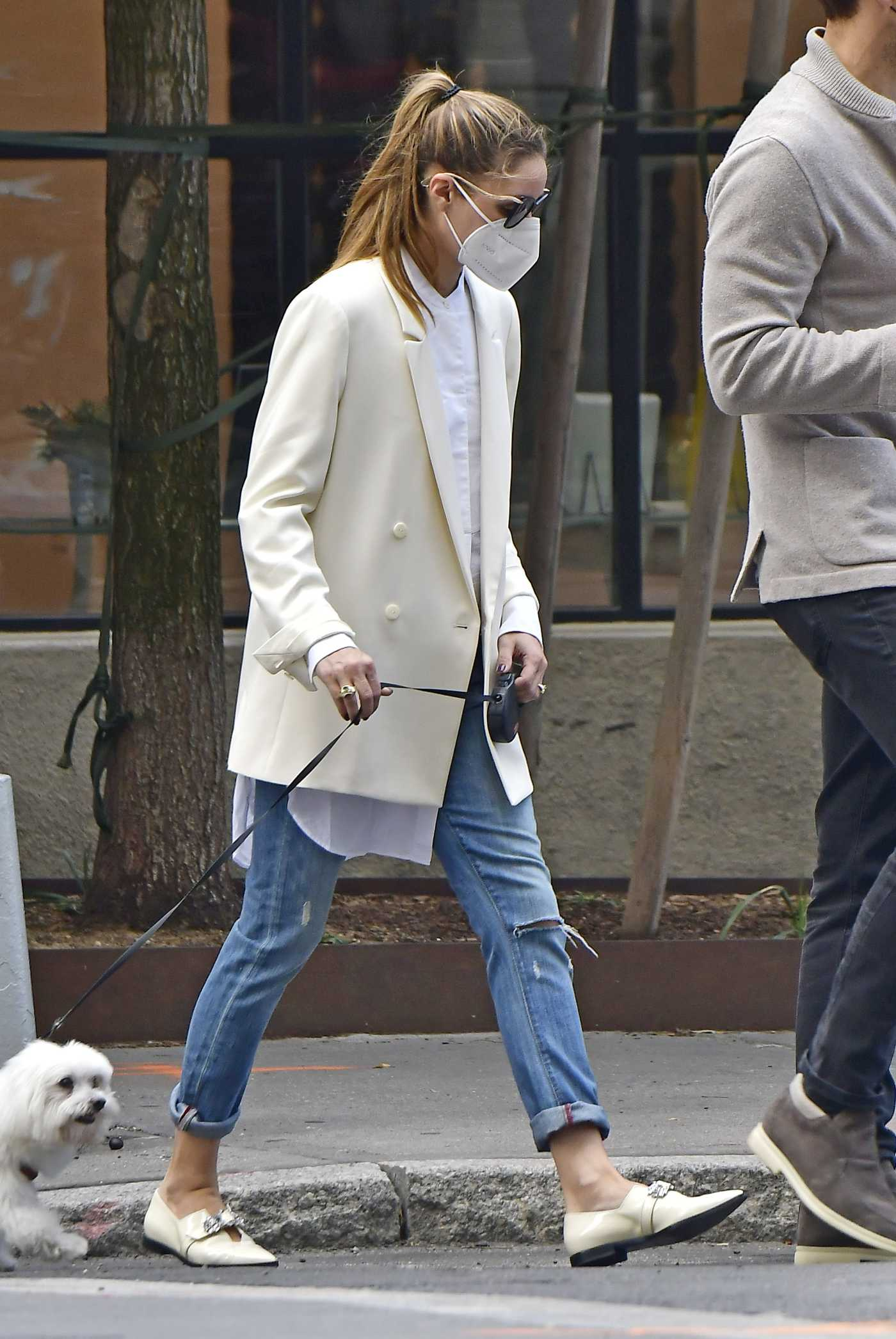 Olivia Palermo in a White Blazer Walks Her Dog with Husband Johannes Huebl in Brooklyn, New York 10/10/2020