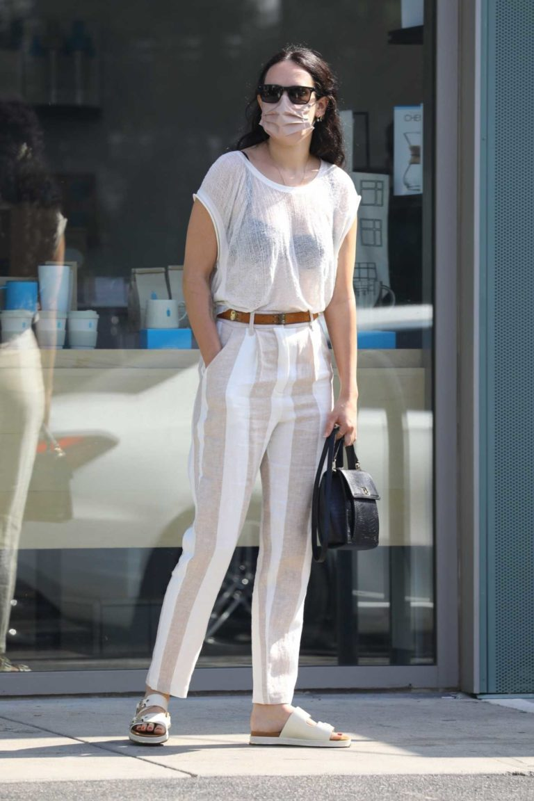 Rumer Willis in a White See-Though Blouse