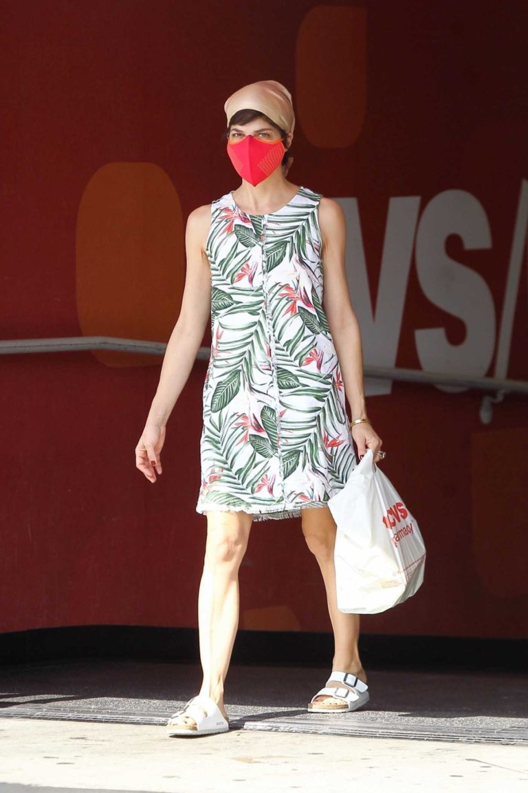 Selma Blair in a Red Protective Mask