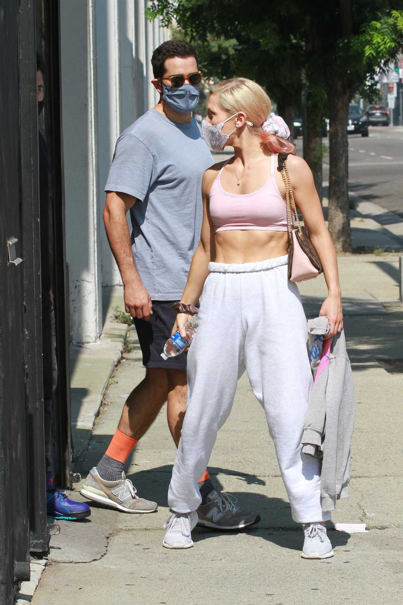 Sharna Burgess in a Pink Sports Bra Leaves the DWTS Studio in Los Angeles 10/06/2020