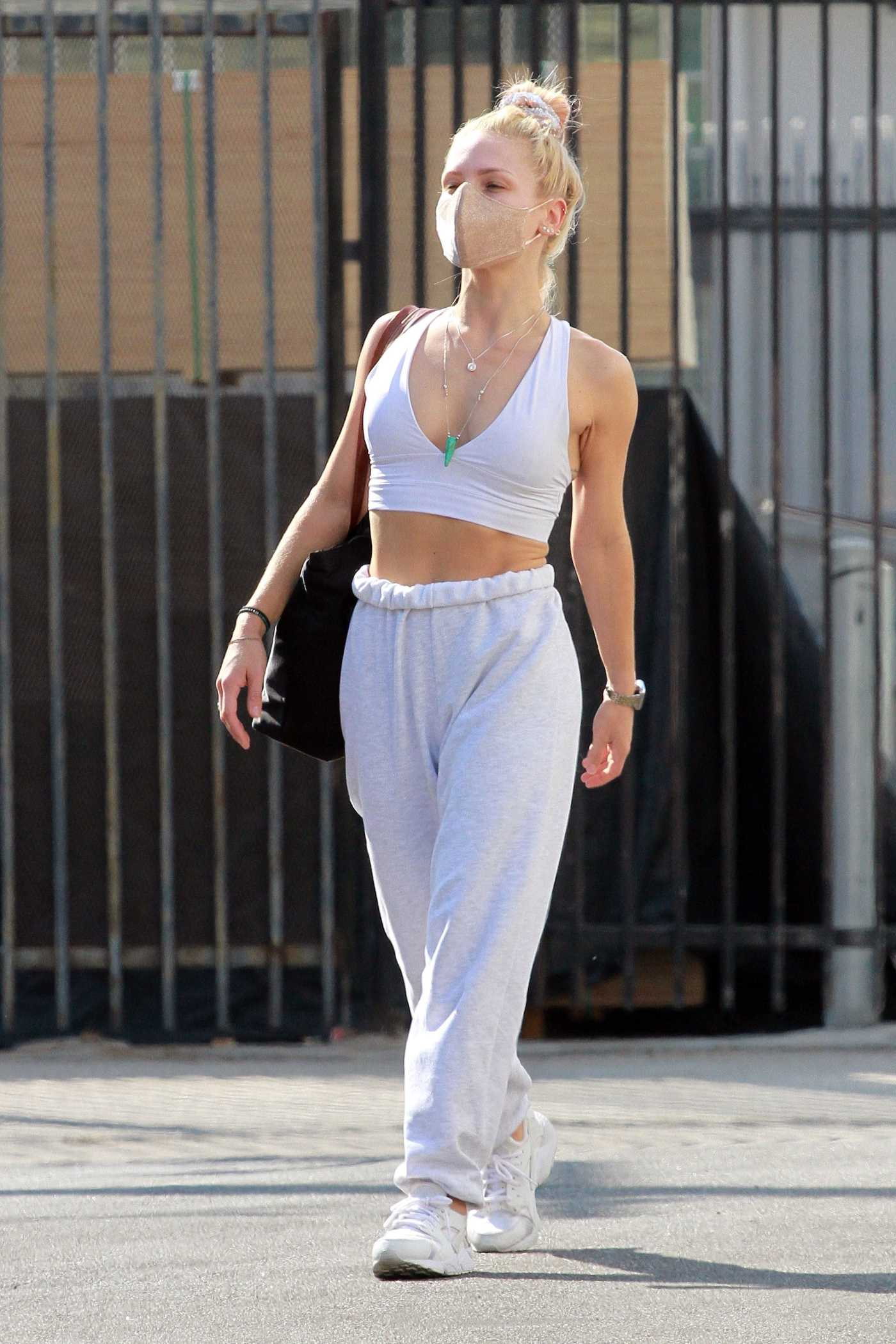 Sharna Burgess in a White Top Heads Into the DWTS Studio in Los Angeles 10/03/2020