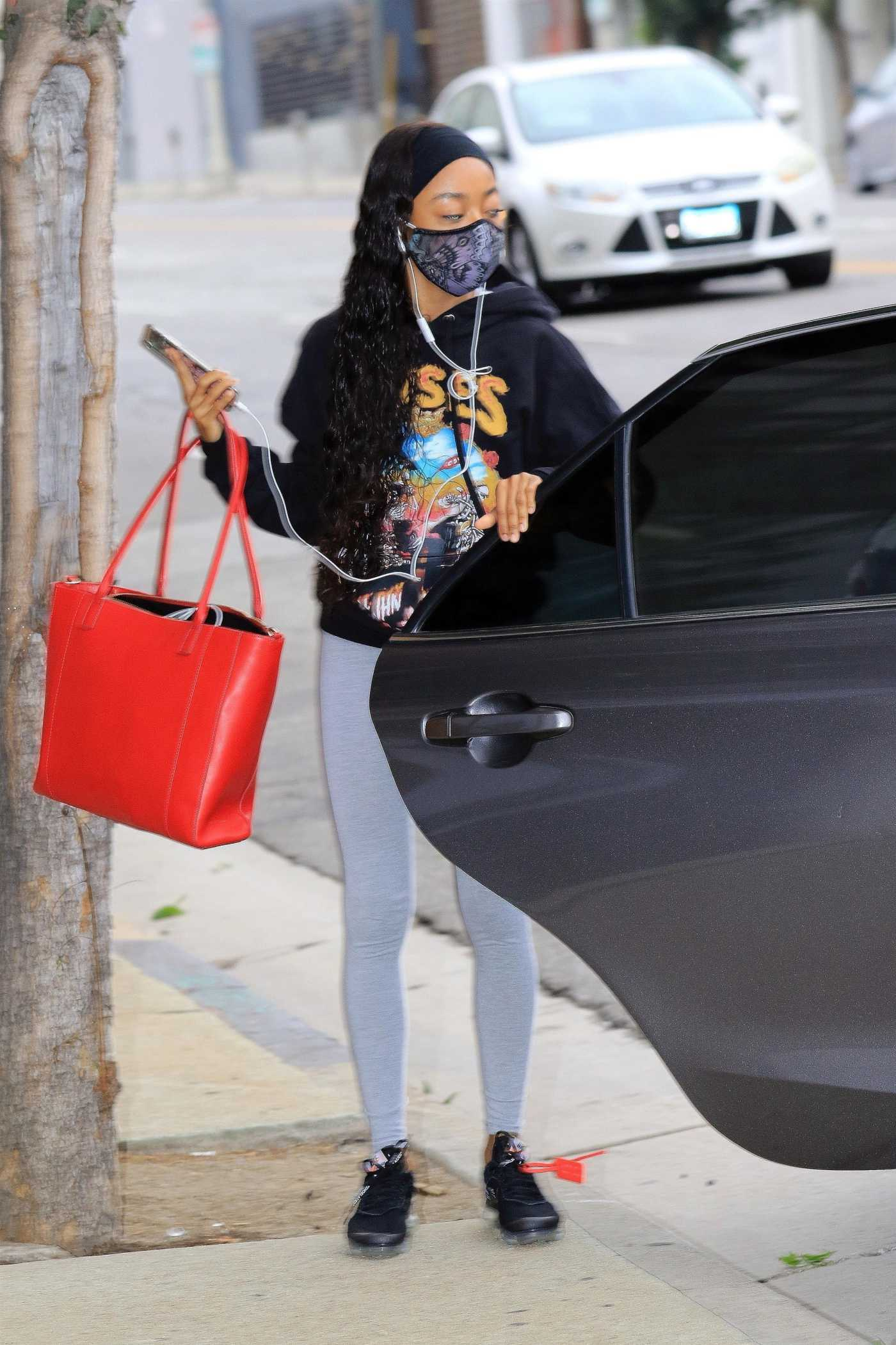 Skai Jackson in a Black Hoodie Arrives at the DWTS Studio in Los Angeles 10/23/2020