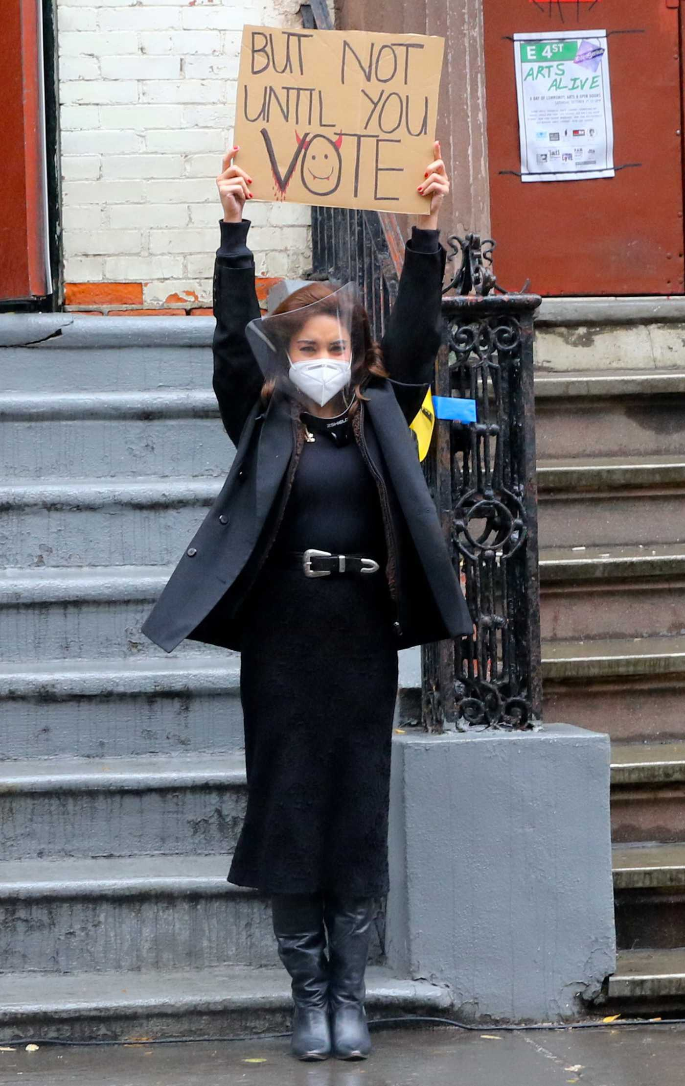 Vanessa Hudgens in a Protective Mask on the Set of the Tick, Tick… Boom! in New York 10/26/2020