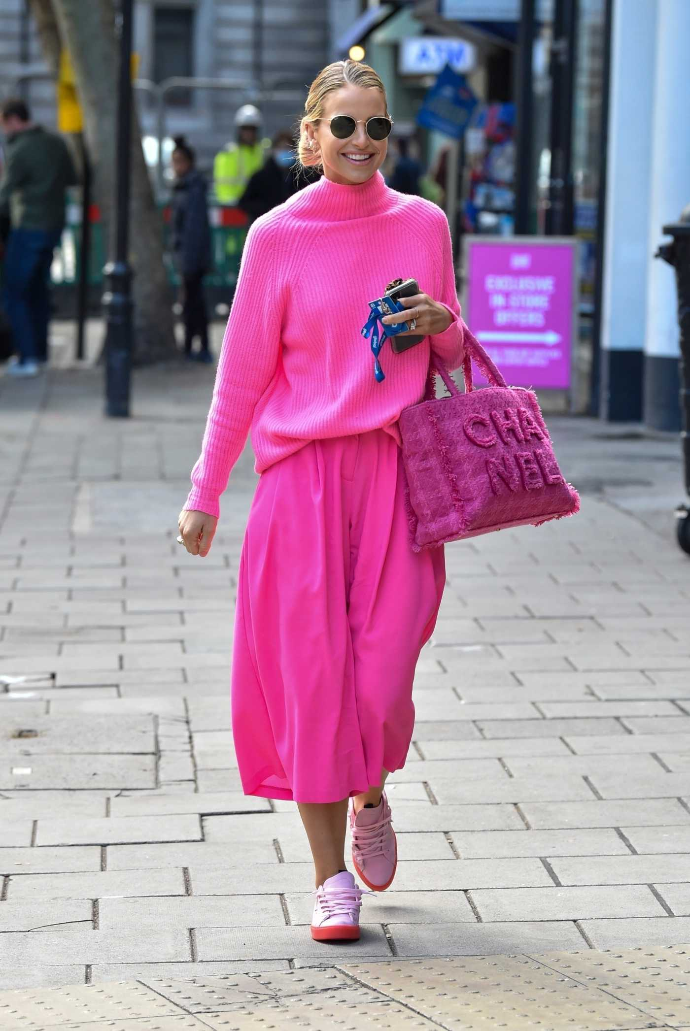 Vogue Williams in a Pink Outfit Arrives at the Global Studios in London 10/16/2020