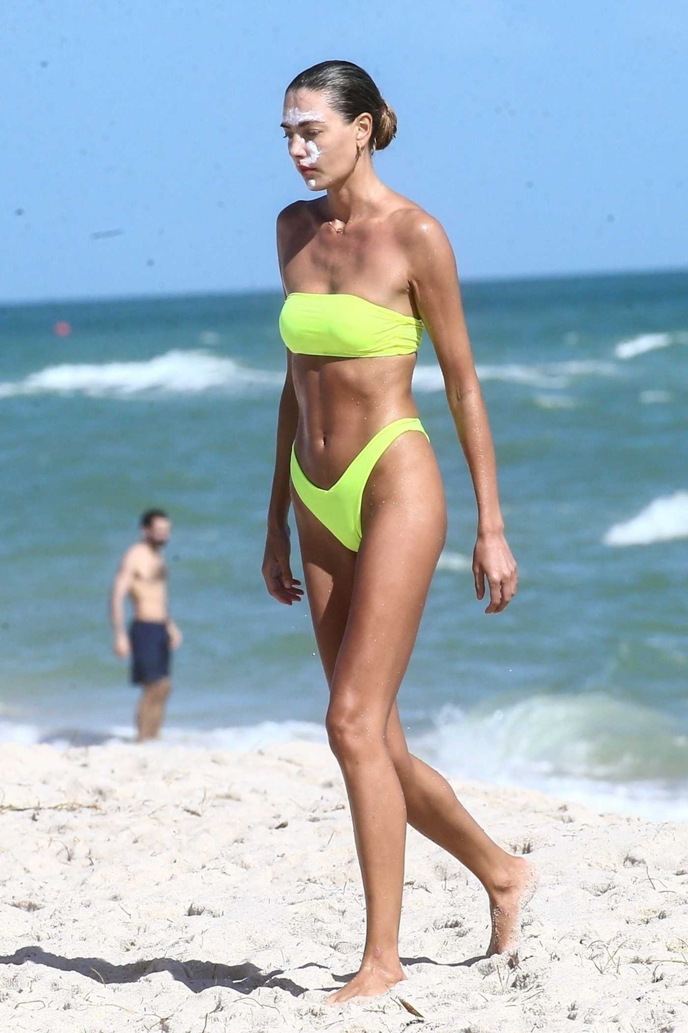 Alina Baikova in a Neon Green Bikini on the Beach in Miami 11/26/2020