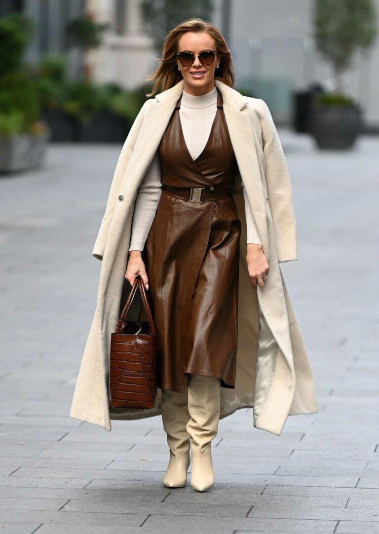Amanda Holden in a Beige Coat