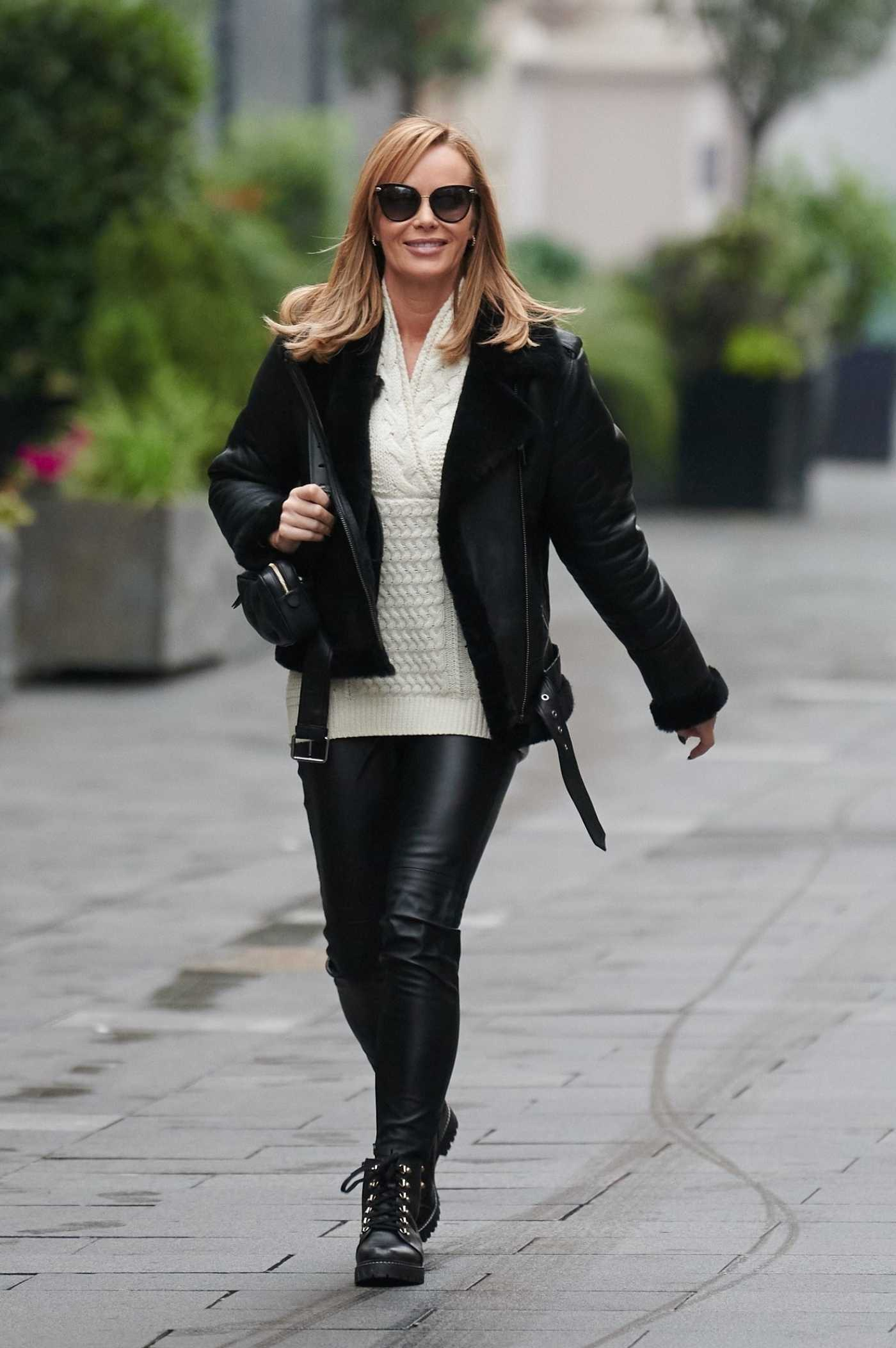 Amanda Holden in a Black Jacket Leaves the Global Radio in London 11/25/2020